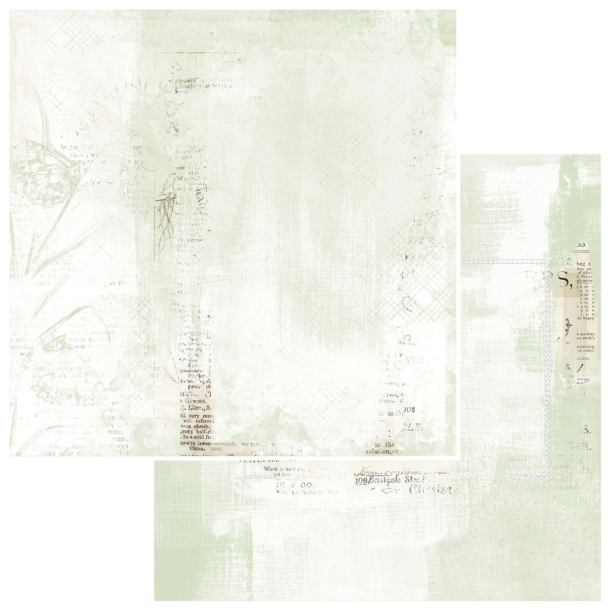 49 And Market - Vintage Artistry Sage - PAPILLON - 12x12 Double-Sided Paper