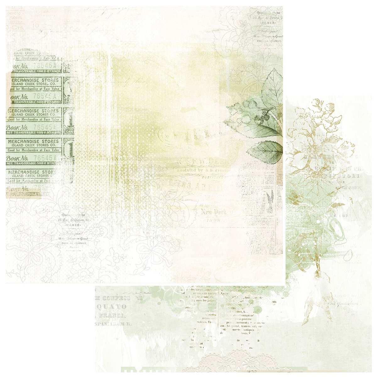 49 And Market - Vintage Artistry Sage - PERENNIAL - 12x12 Double-Sided Paper