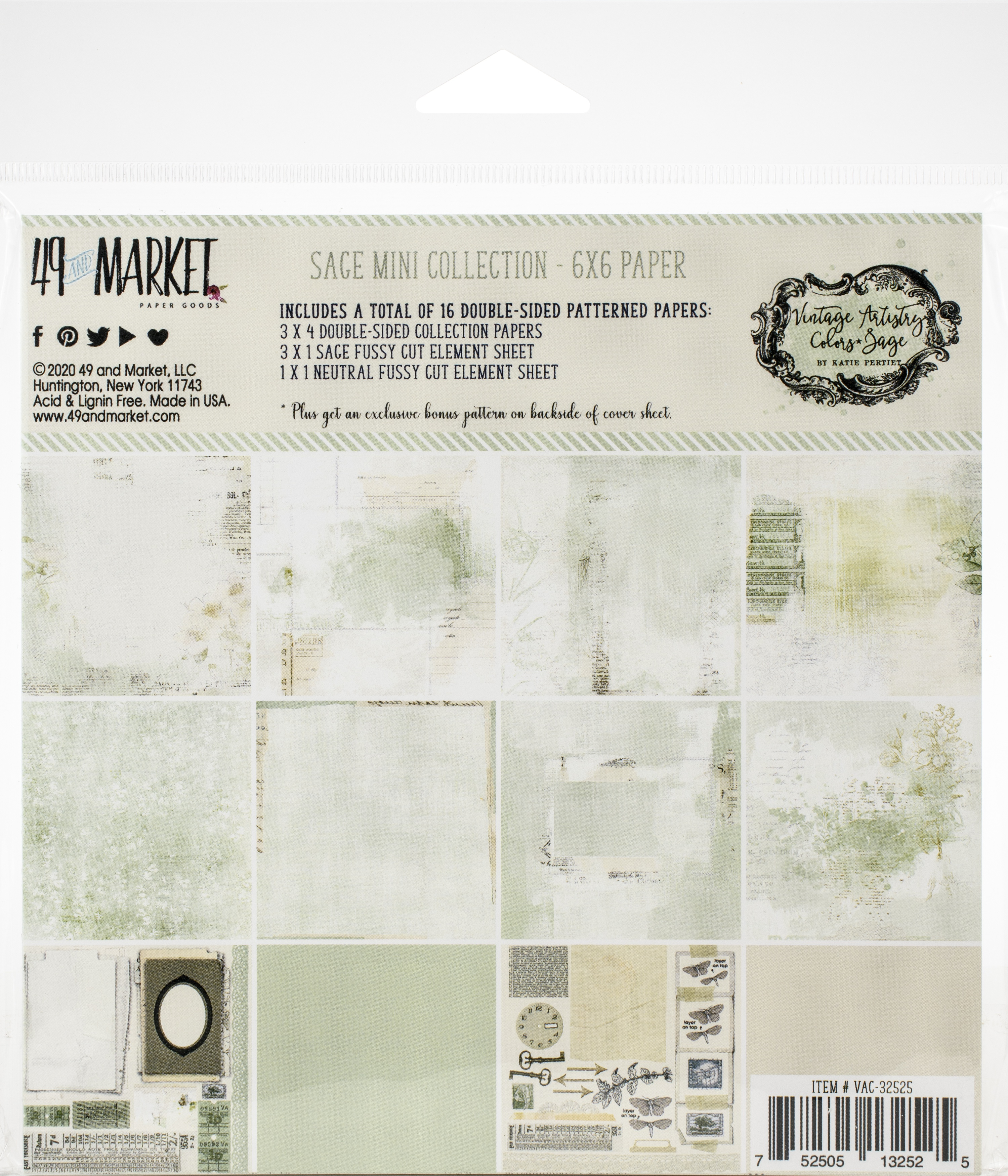 49 And Market Collection Pack 6X6-Vintage Artistry Sage