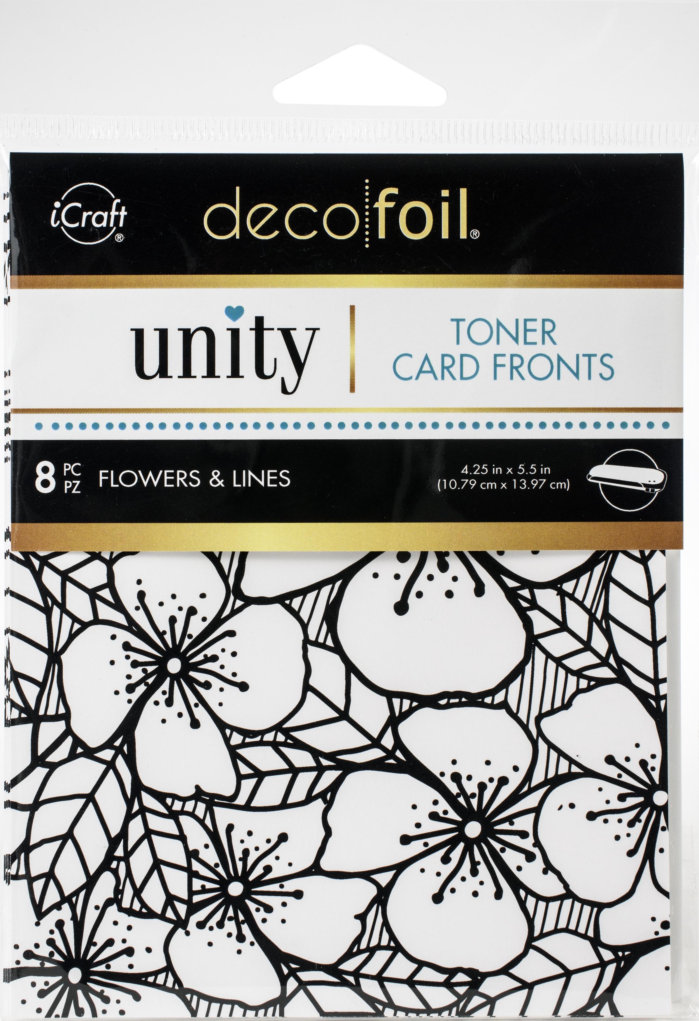 Unity - Deco Foil Toner Card Fronts - Flowers & Lines  4.25X5.5 8/Pkg