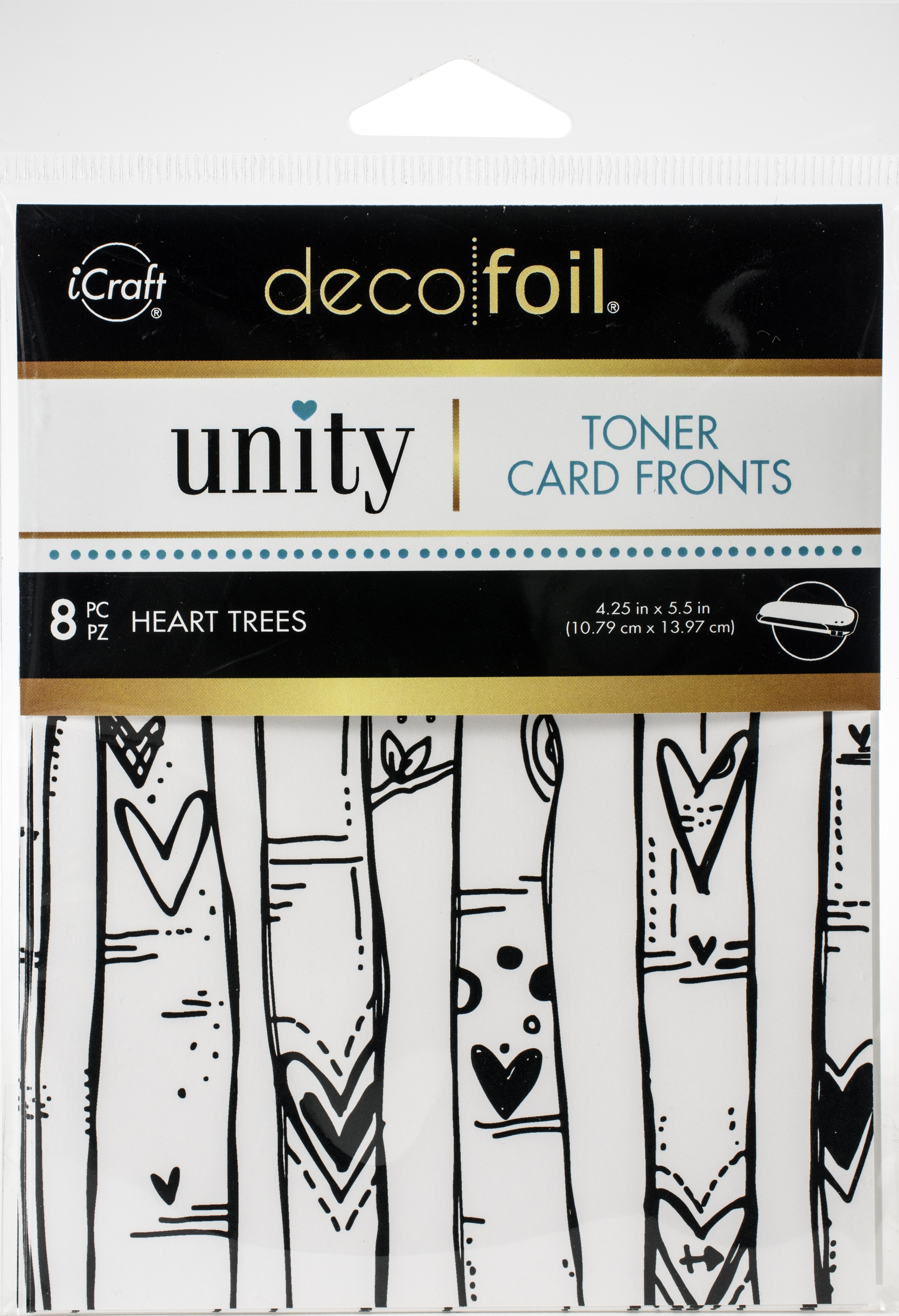 Unity - Deco Foil - Toner Card Fronts - Heart Trees  8/Pkg- 4.25X5.5