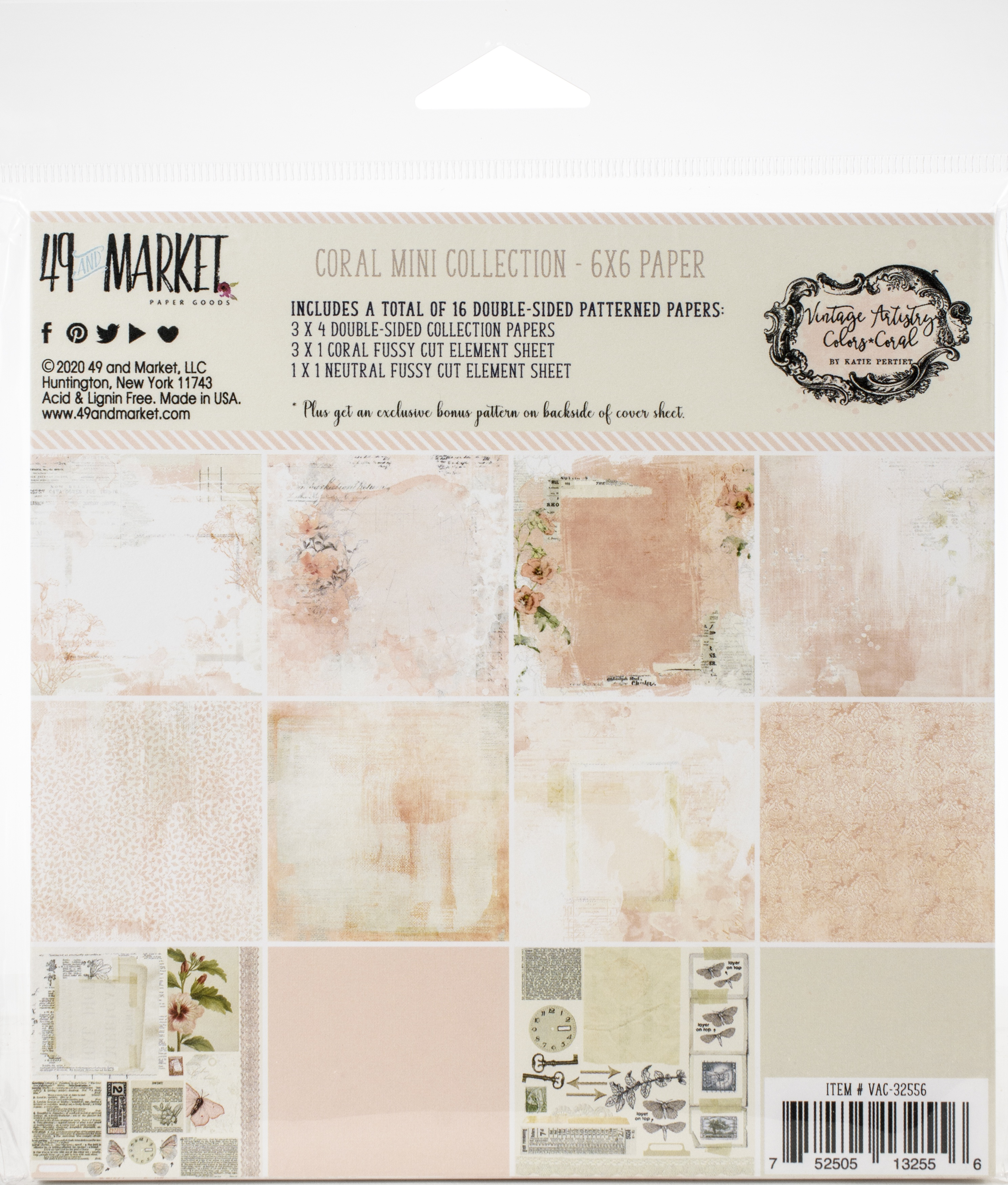 49 And Market Collection Pack 6X6-Vintage Artistry Coral