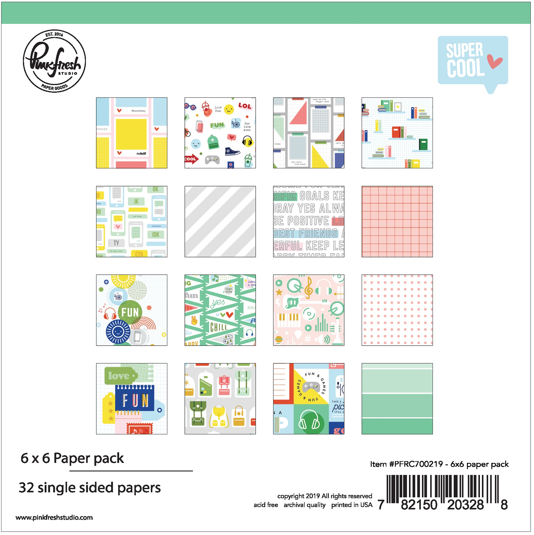 Pinkfresh Studio Single-Sided Paper Pack 6X6 32/Pkg-Super Cool, 16 Designs/2 E...