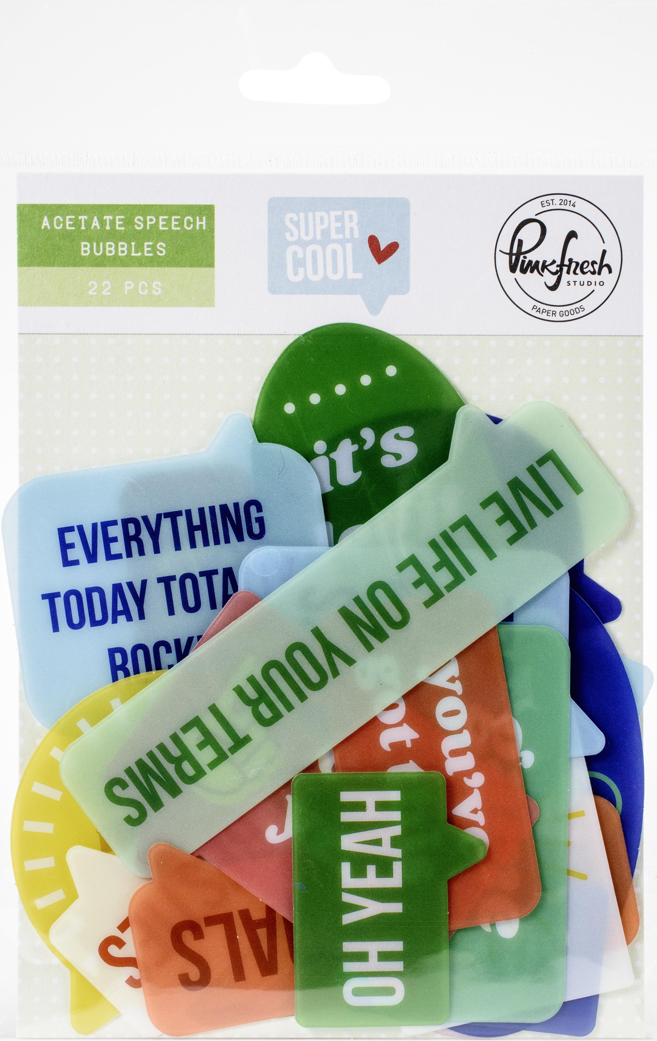 Pinkfresh Acetate Speech Bubbles Die-Cuts-Super Cool