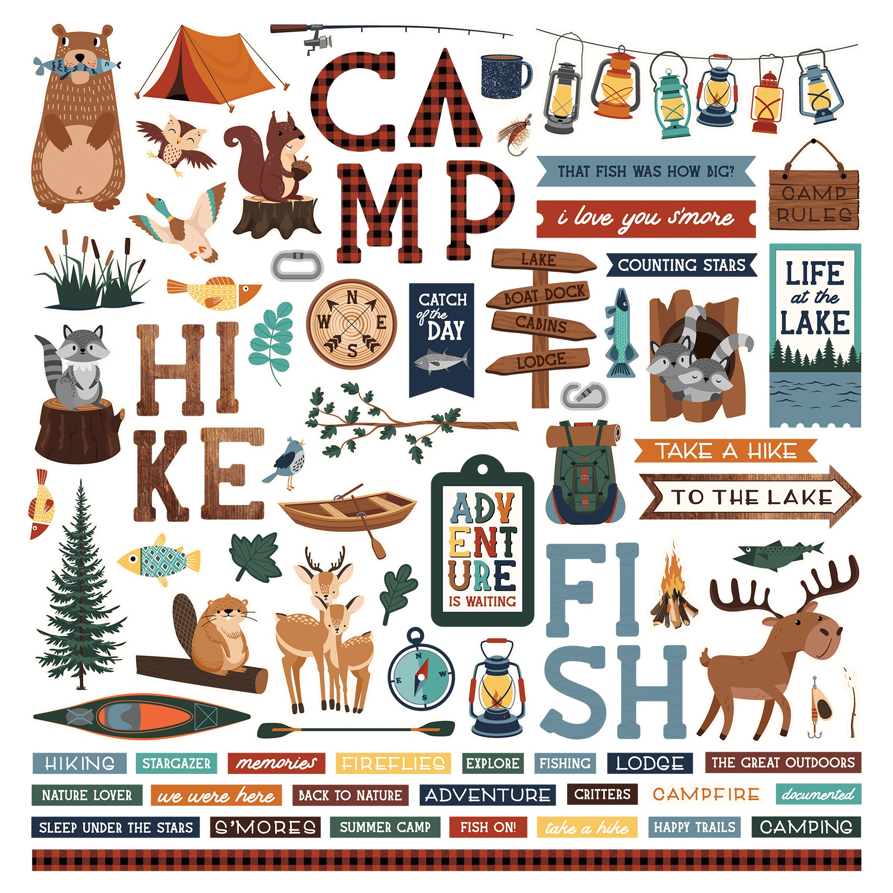 Camp Happy Bear Stickers 12X12-Elements