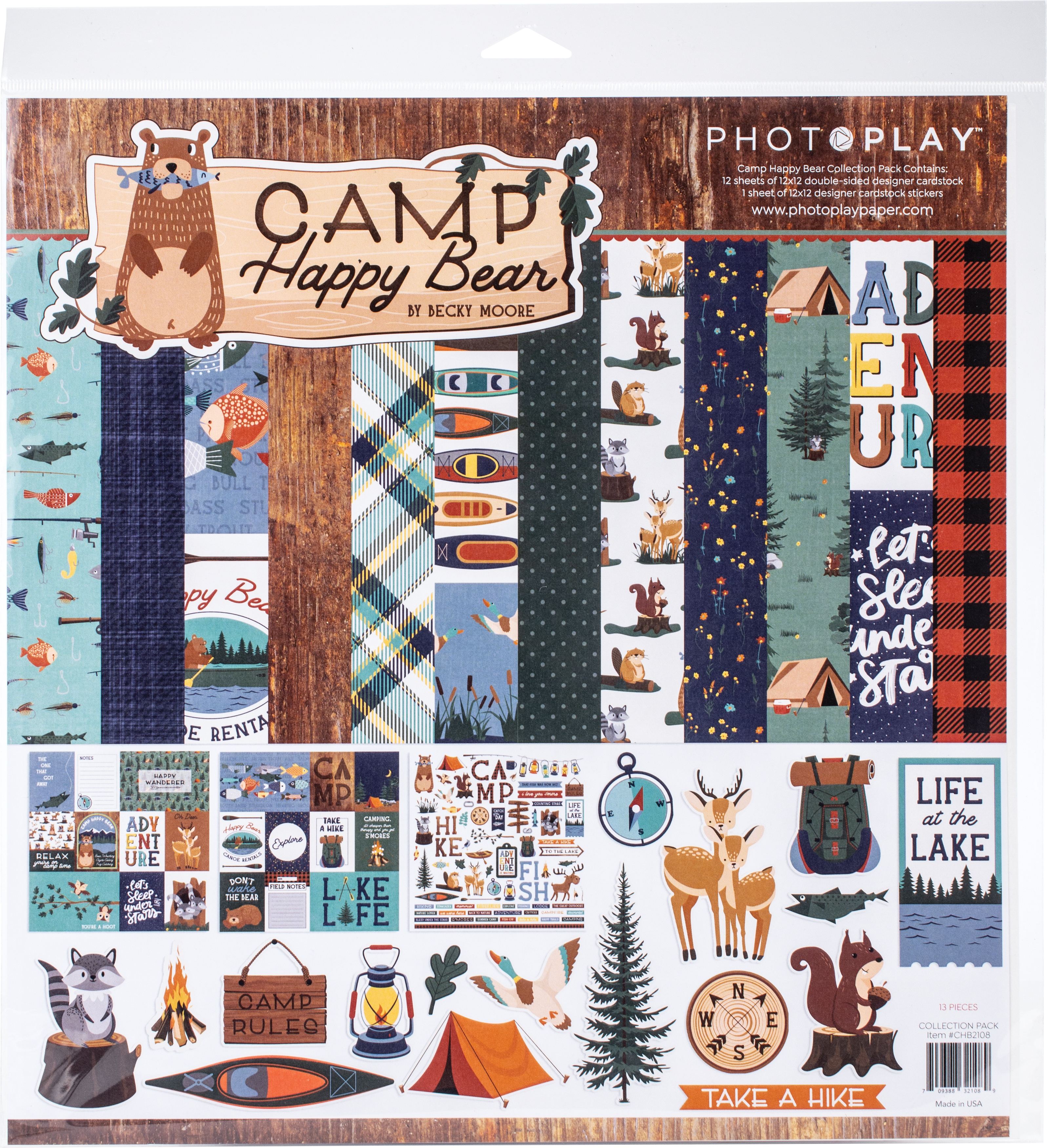PhotoPlay Camp Happy Bear - 12x12 Collection Pack