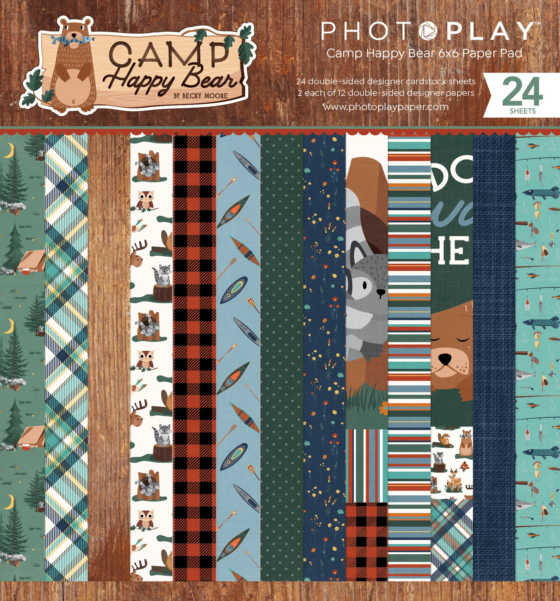 PhotoPlay Double-Sided Paper Pad 6X6 24/Pkg-Camp Happy Bear