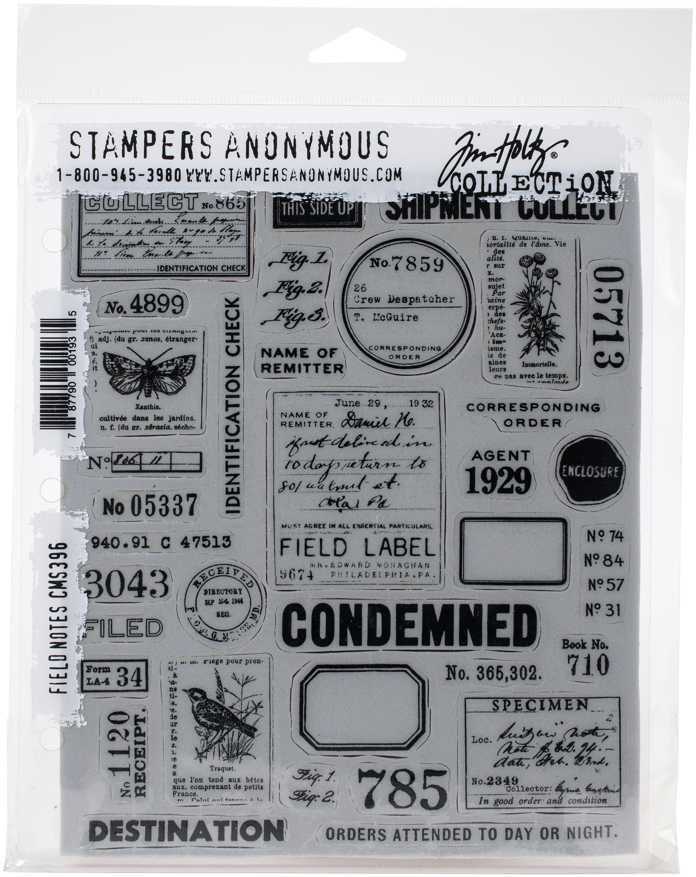 Tim Holtz Cling Stamps 7X8.5-Field Notes