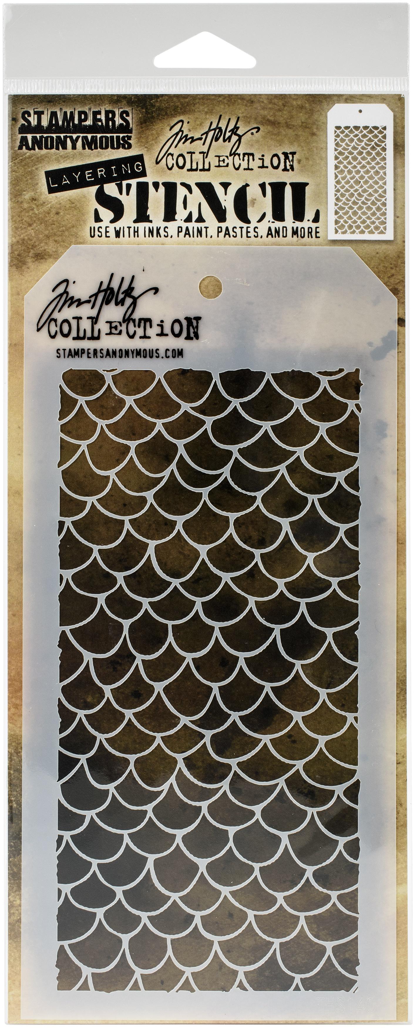 Tim Holtz Layered Stencil 4.125X8.5-Scales -Layered