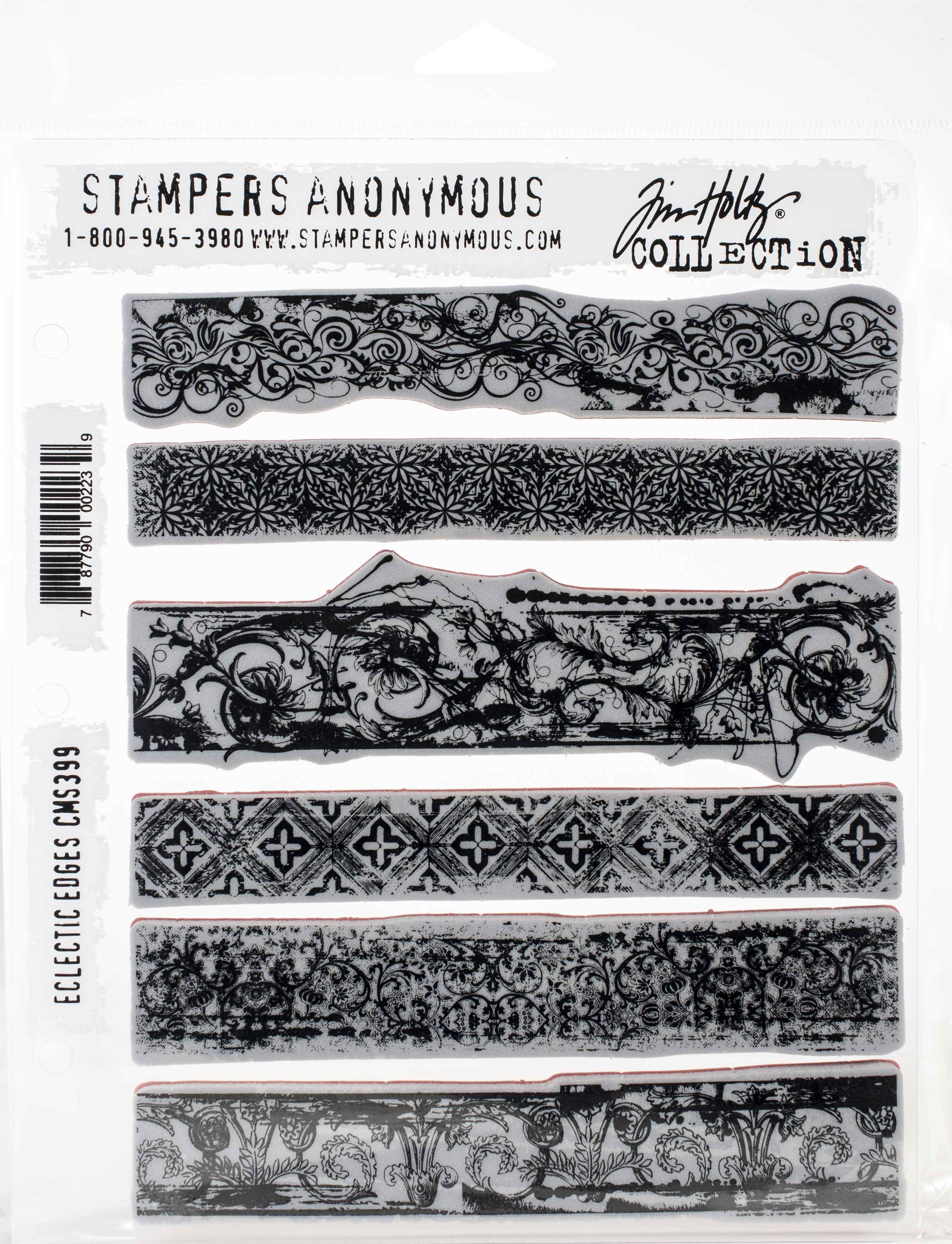 Tim Holtz Cling Stamps 7X8.5-Eclectic Edges