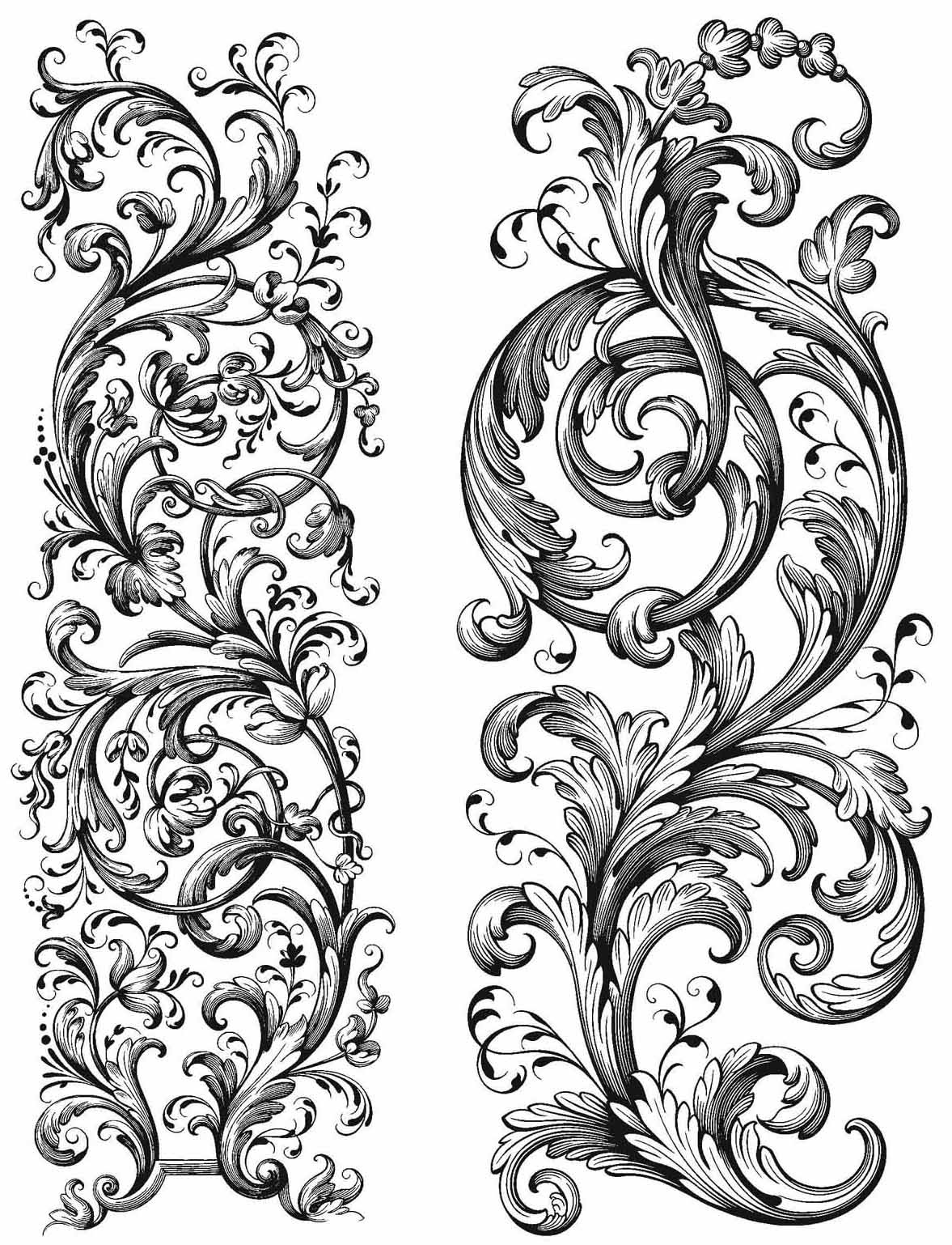 Tim Holtz Cling Stamps 7X8.5-Baroque