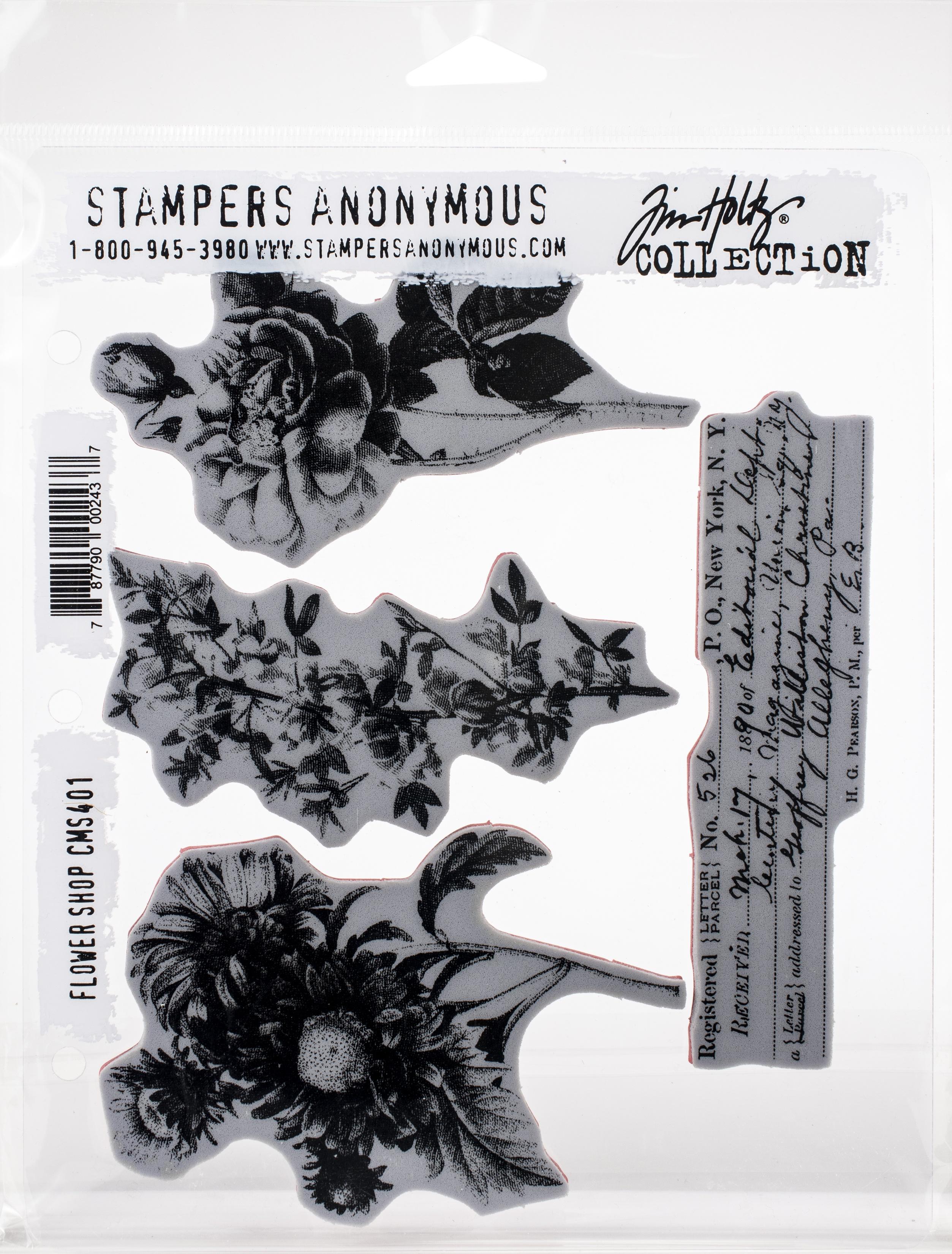 Tim Holtz Cling Stamps 7X8.5-Flower Shop