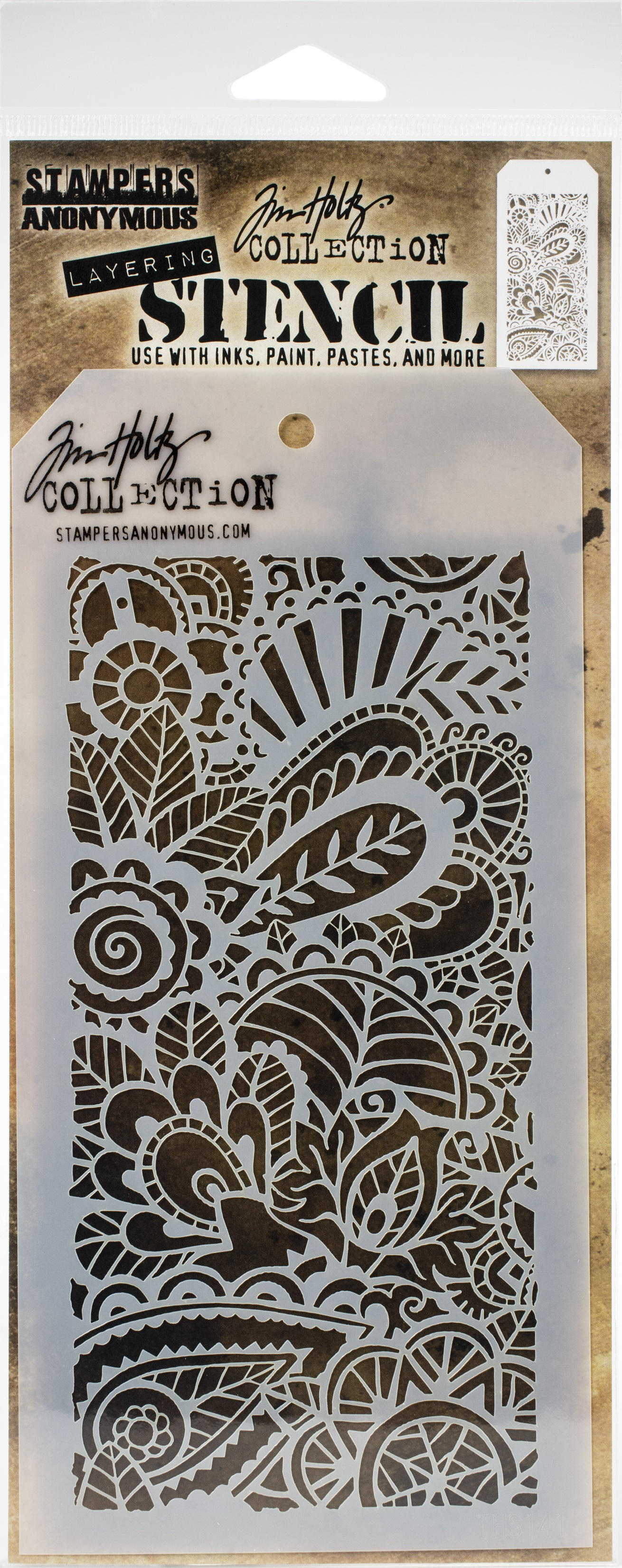 Tim Holtz Layered Stencil 4.125X8.5-Doodle Art 1 -Layered