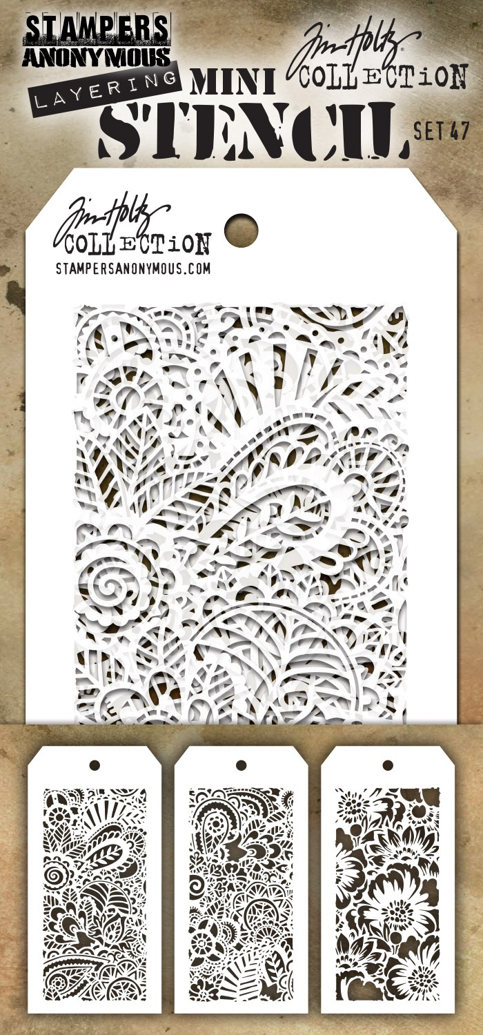Tim Holtz Mini Layered Stencil Set 3/Pkg-Set #47