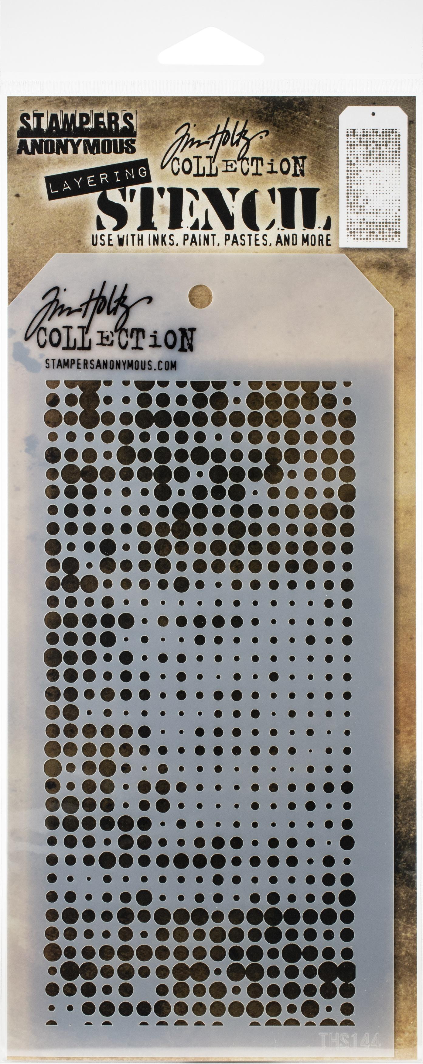 Tim Holtz Layered Stencil 4.125X8.5-Halftone -Layered