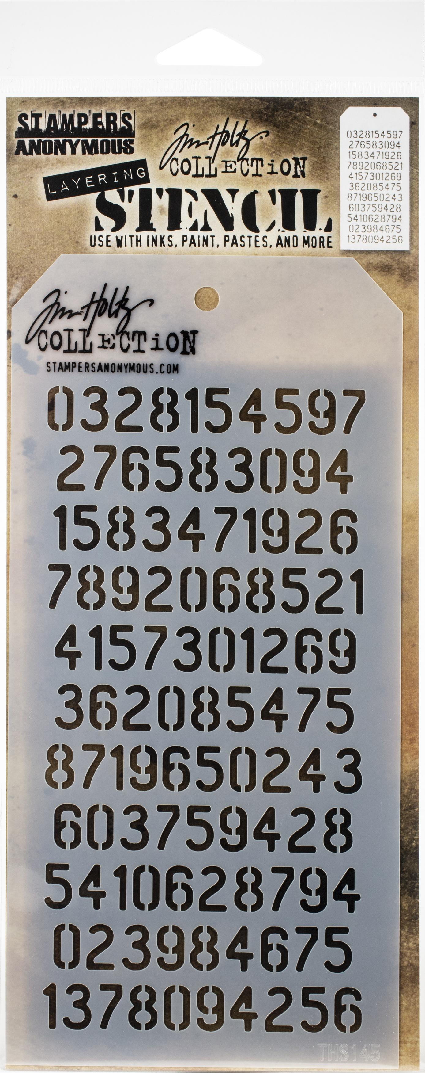 Tim Holtz Layered Stencil 4.125X8.5-Digits -Layered
