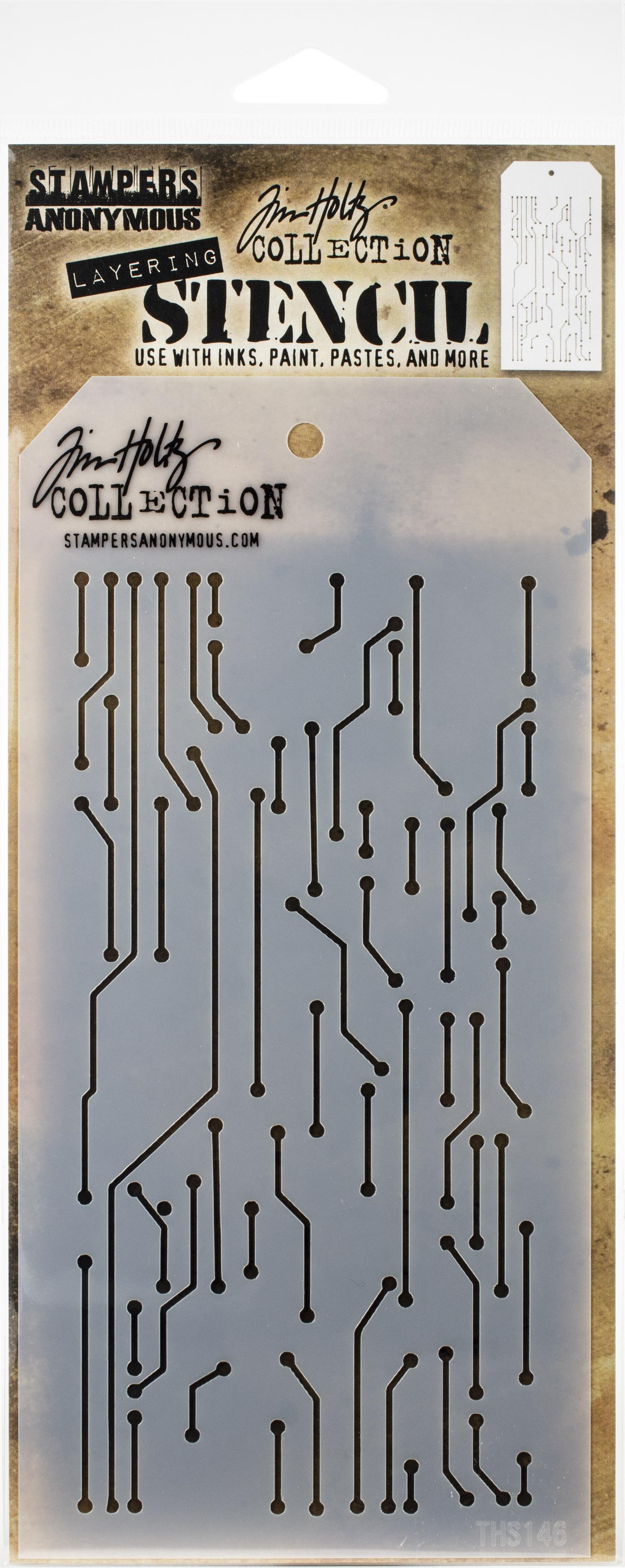 Tim Holtz Layered Stencil 4.125X8.5-Circuit -Layered