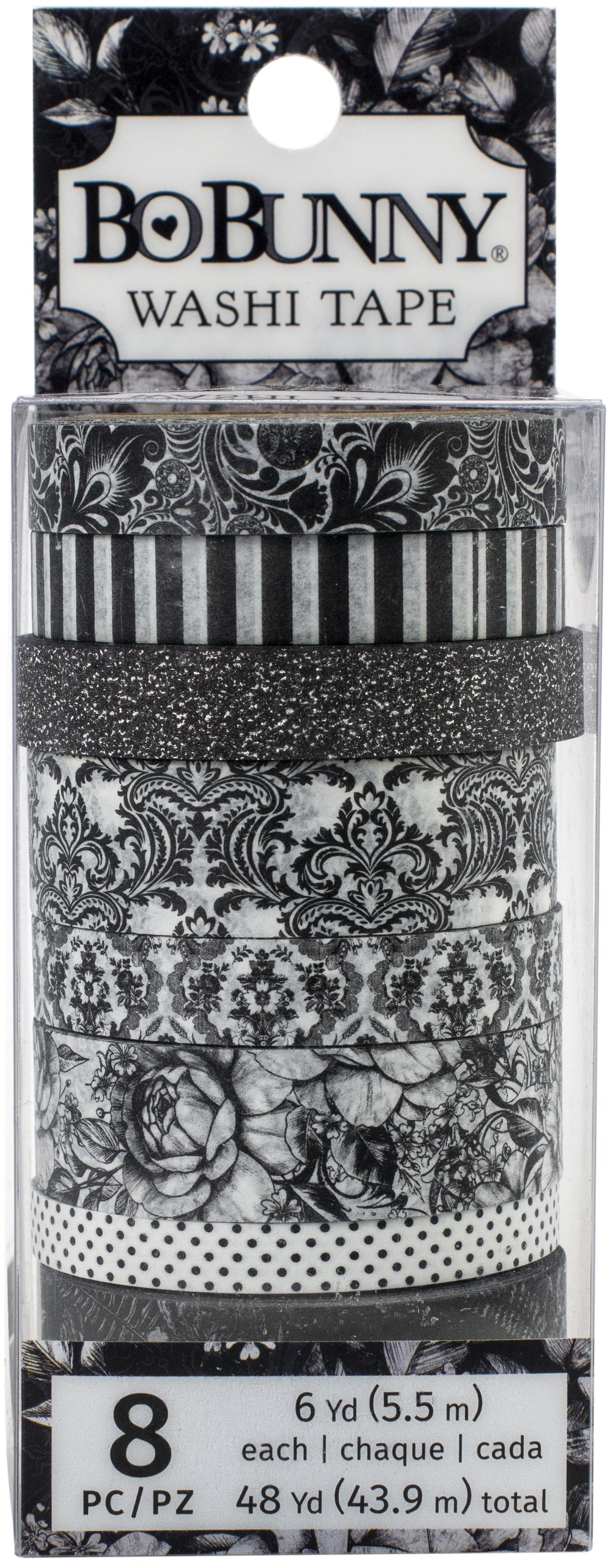 Tuxedos & Tiaras W/Black Glitter Accents Washi Tape 8/Pkg