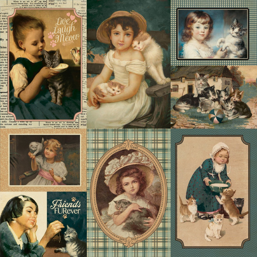 Purebred Double-Sided Cardstock 12X12-#7 Cat Vintage Cut-Aparts
