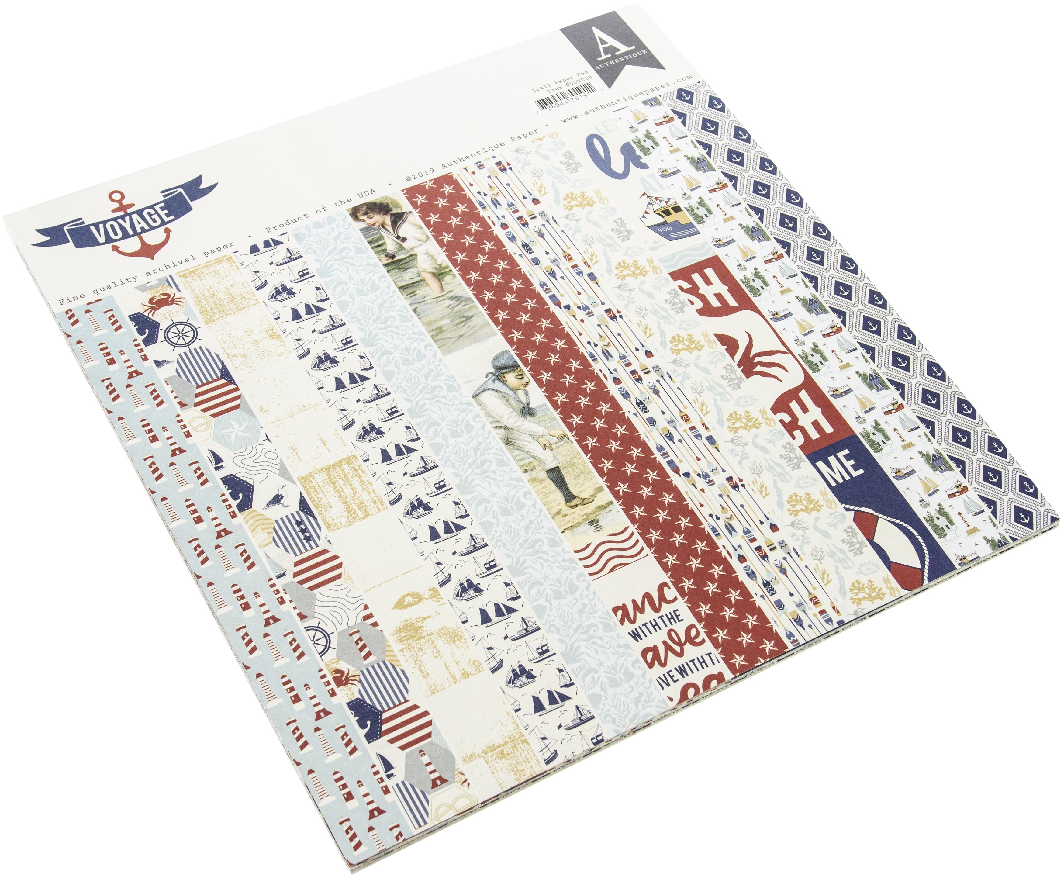 Authentique Double-Sided Cardstock Pad 12X12 24/Pkg-Voyage