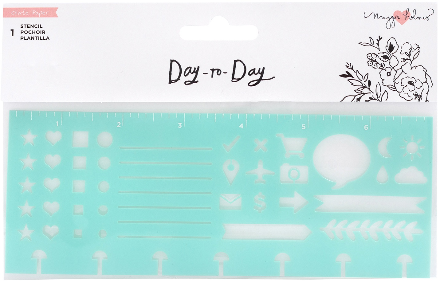 Maggie Holmes Day-To-Day Planner Stencil 7X4.5-Icon