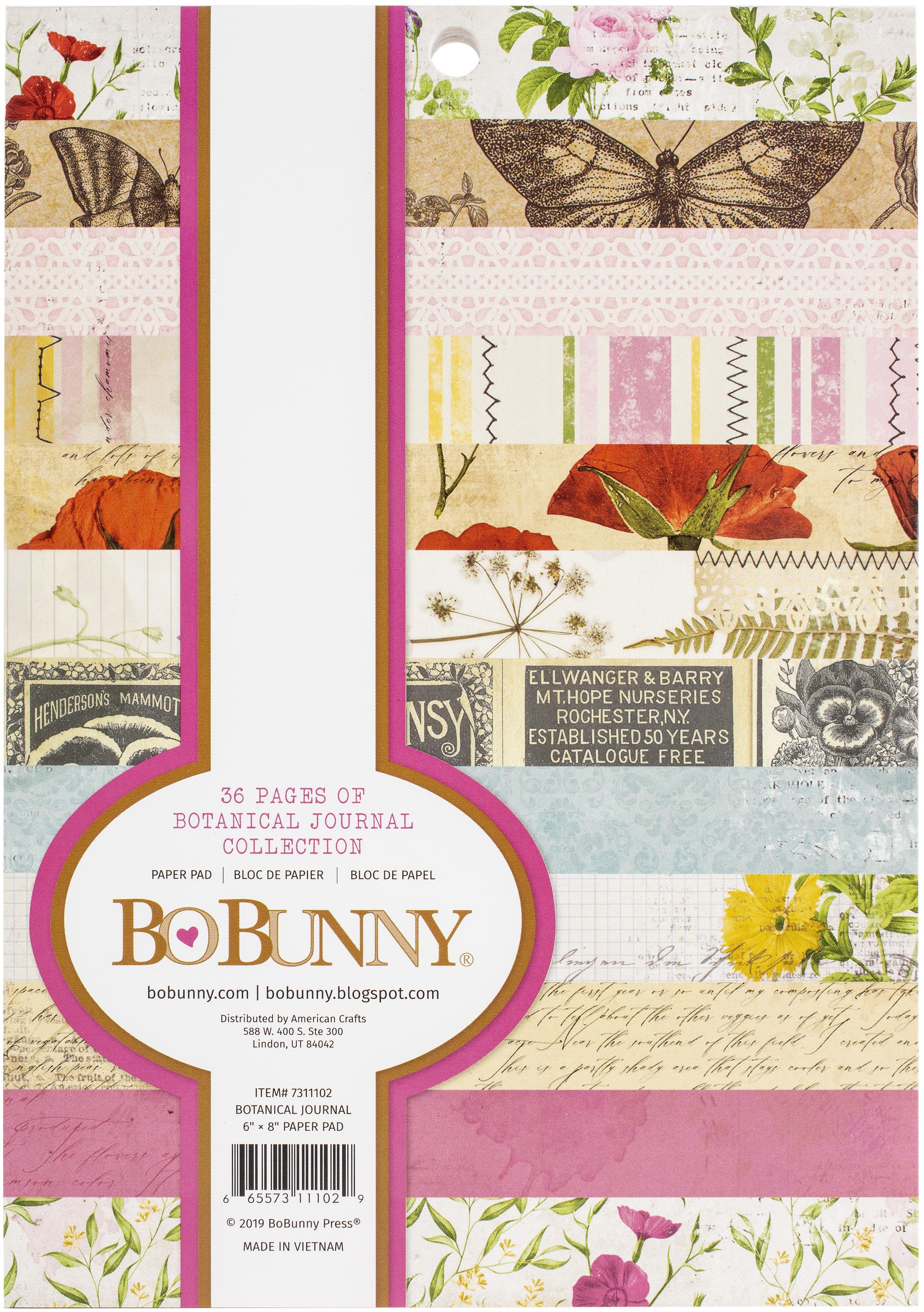 BoBunny Single-Sided Paper Pad 6X8 36/Pkg-Botanical Journal, 12 Designs/3 Each