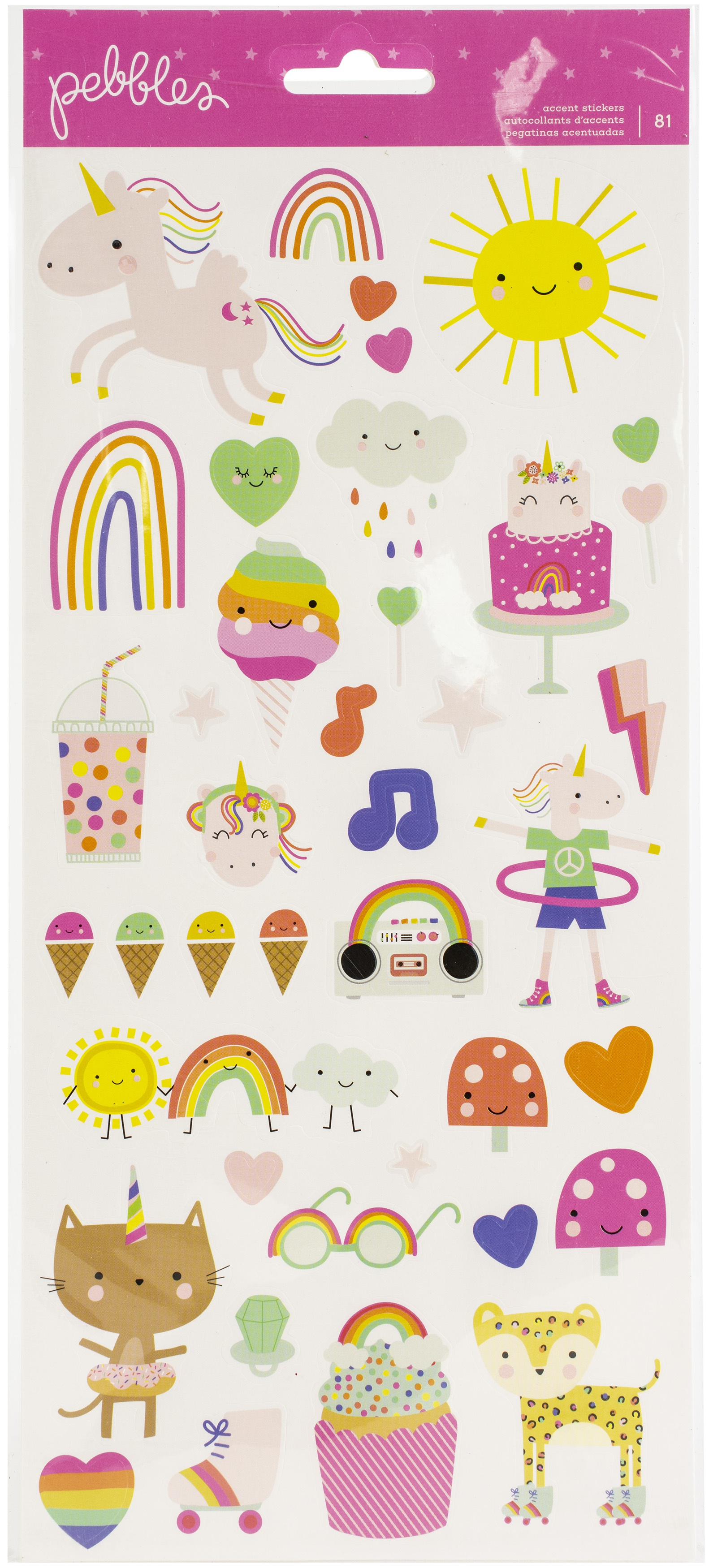 Live Life Happy Cardstock Stickers 6X12 81/Pkg-Icons W/Foil Accents