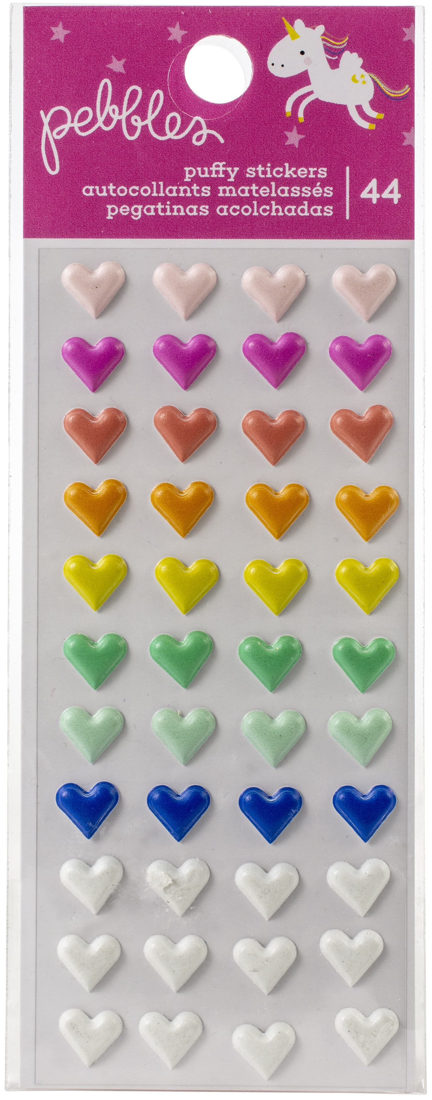 Live Life Happy Puffy Stickers 44/Pkg-Hearts