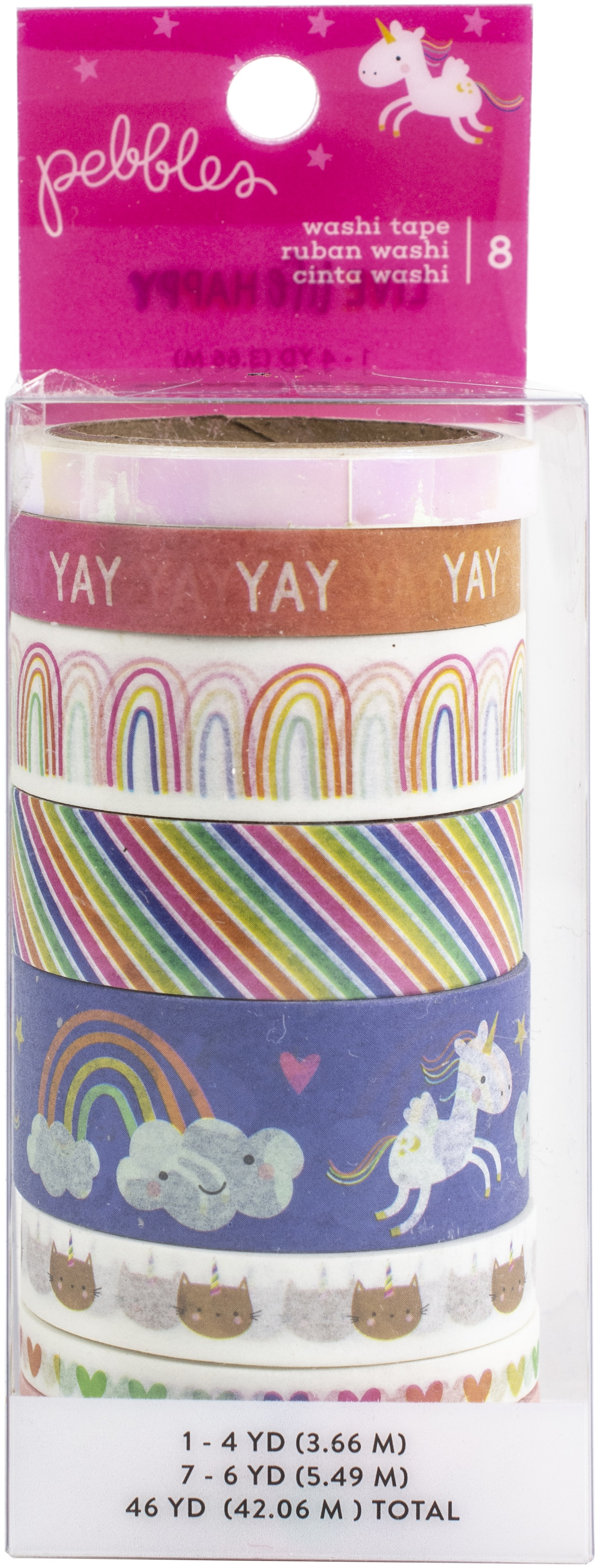 Live Life Happy Washi Tape 8/Pkg-4 To 6 Yards Each