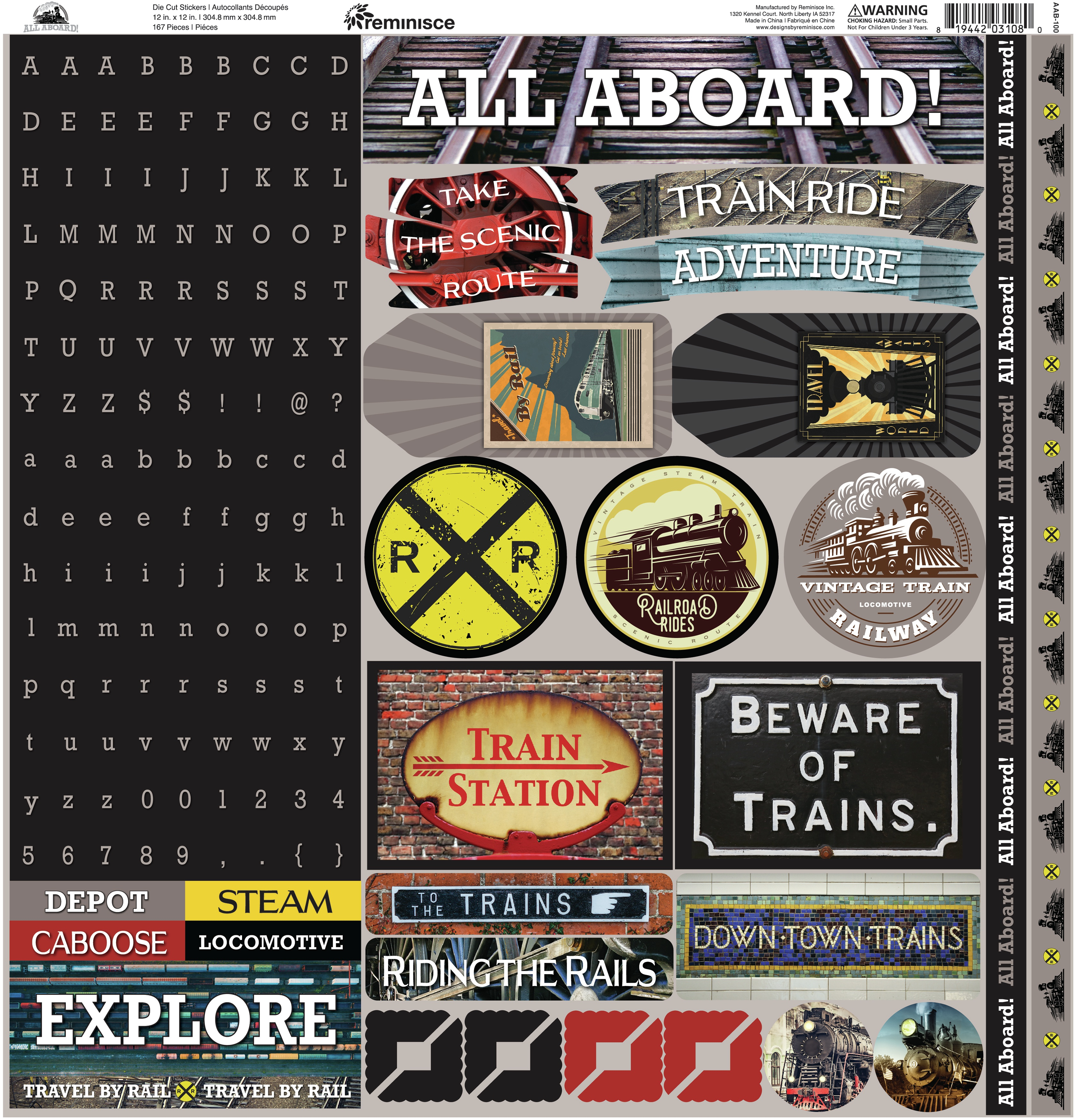 Reminisce Alpha Combo Cardstock Stickers 12X12-All Aboard