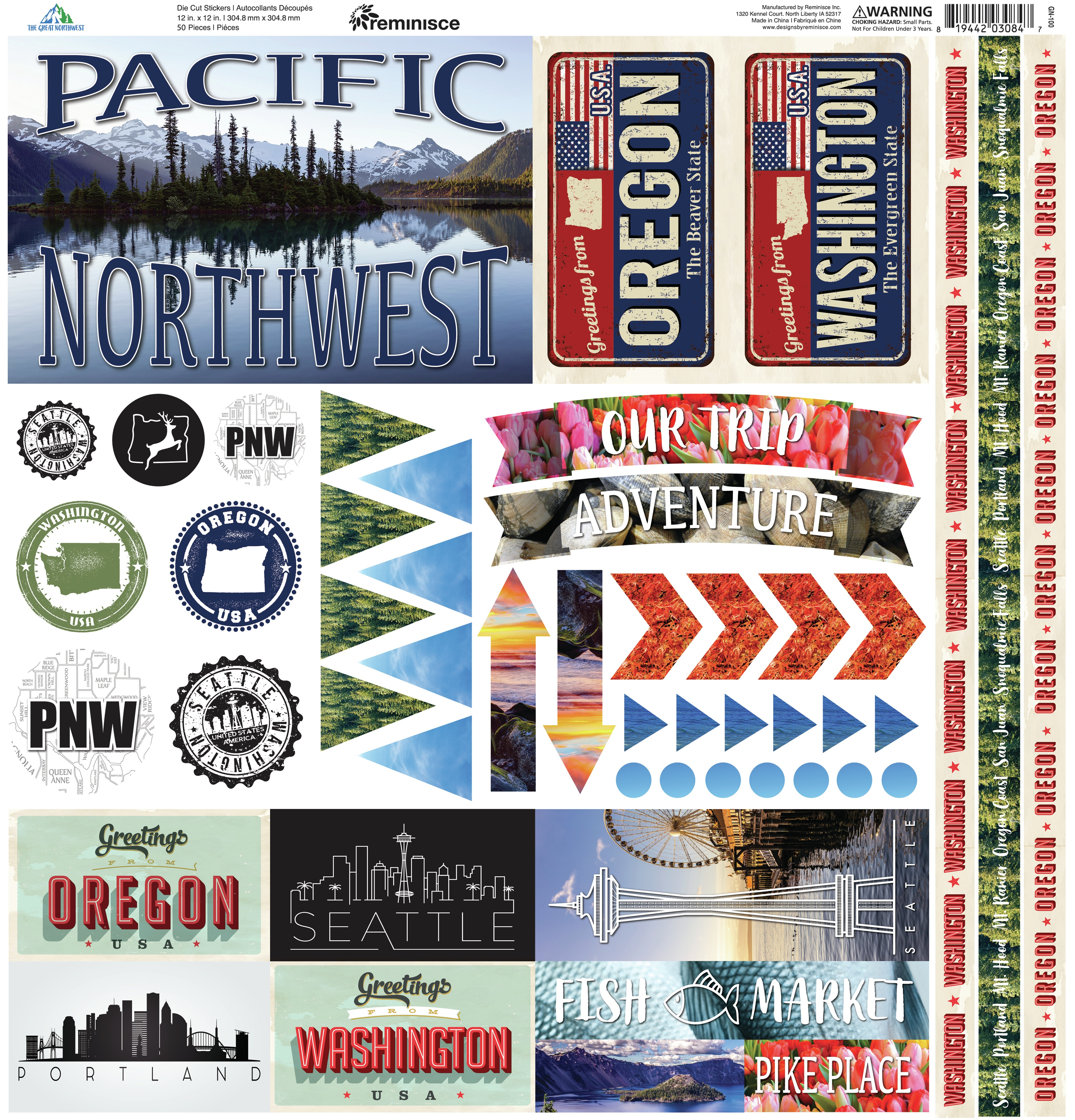 Reminisce Elements Cardstock Stickers 12X12-The Great Northwest