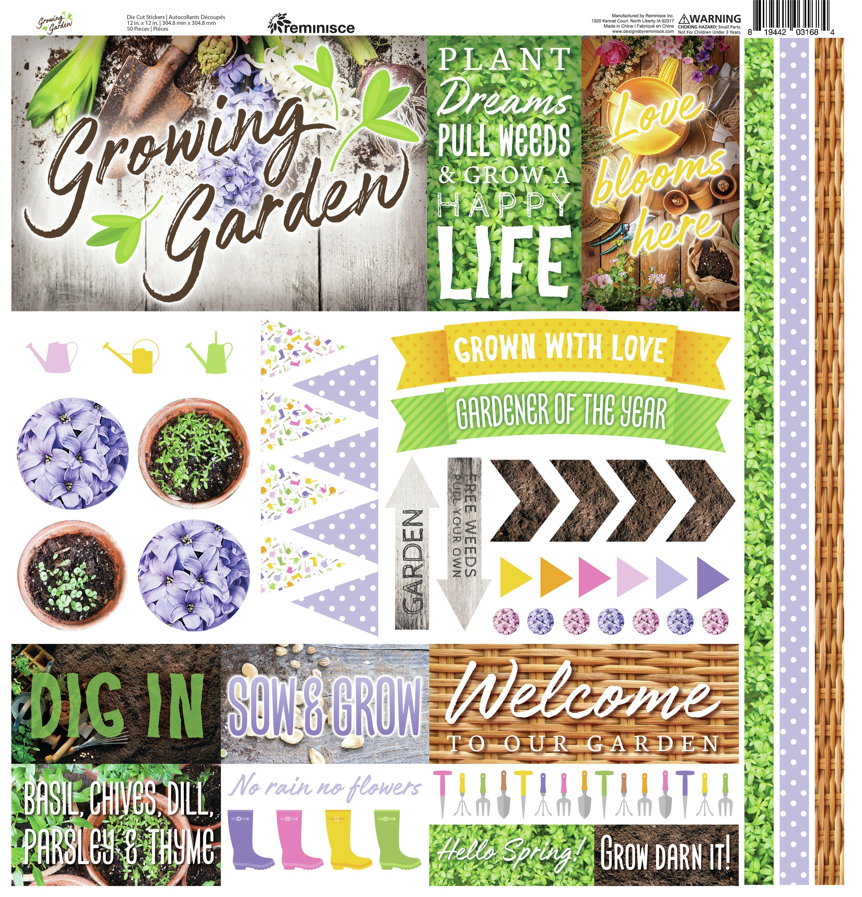 Reminisce Cardstock Stickers 12X12-Growing Garden