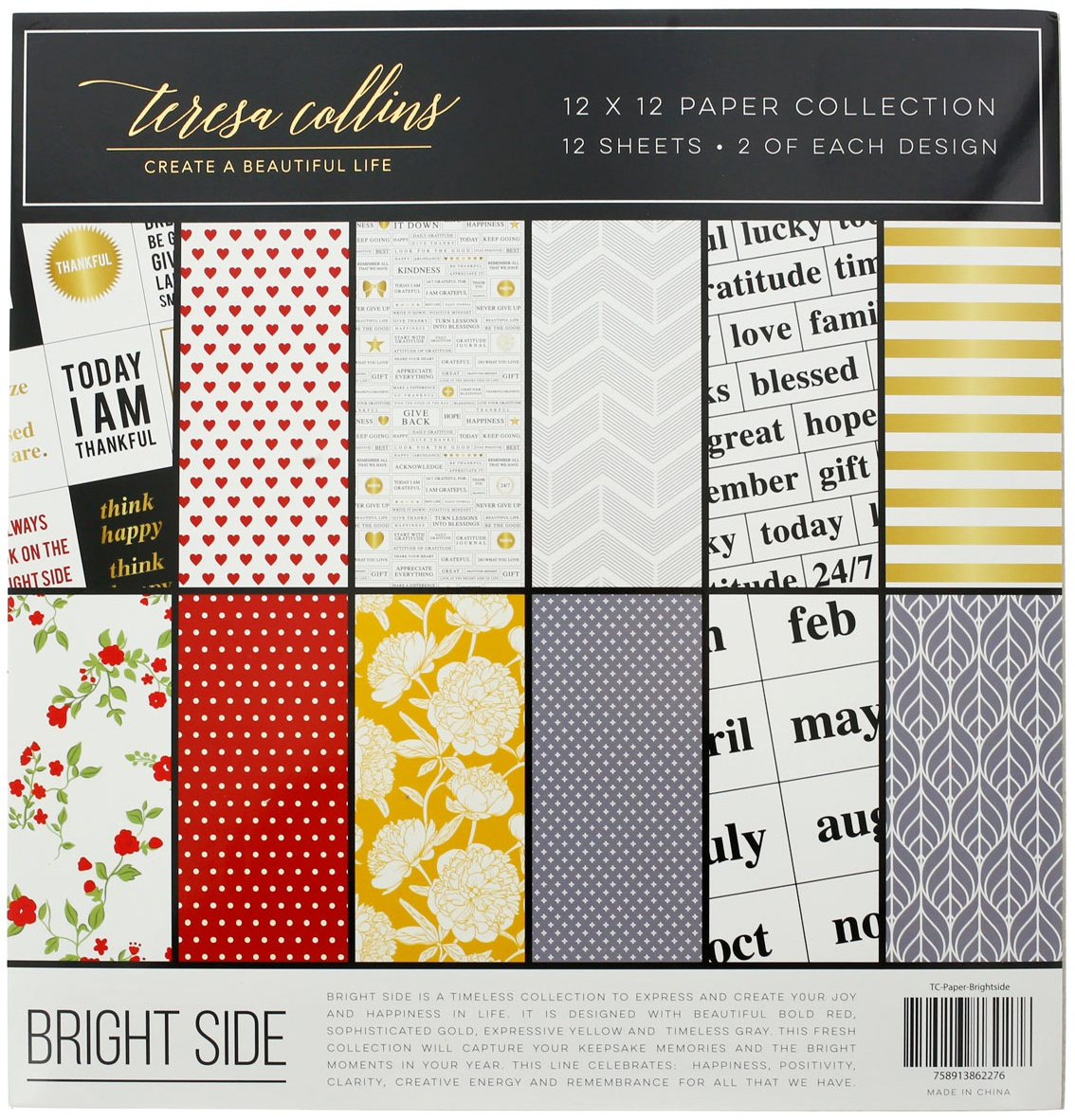 Teresa Collins Paper Collection 12X12 12/Pkg-Brightside, 6 Designs/2each