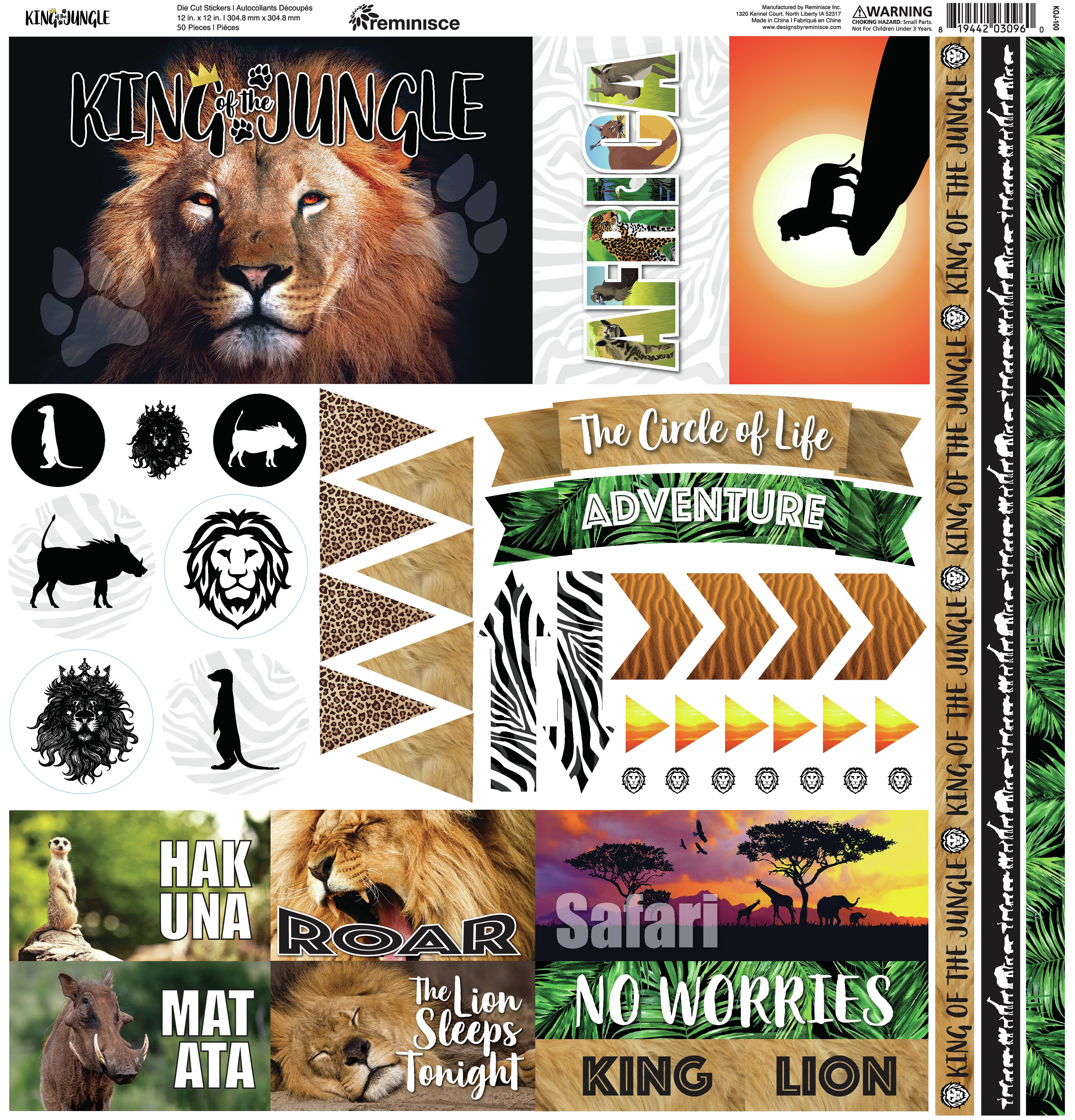Reminisce Elements Cardstock Stickers 12X12-King Of The Jungle