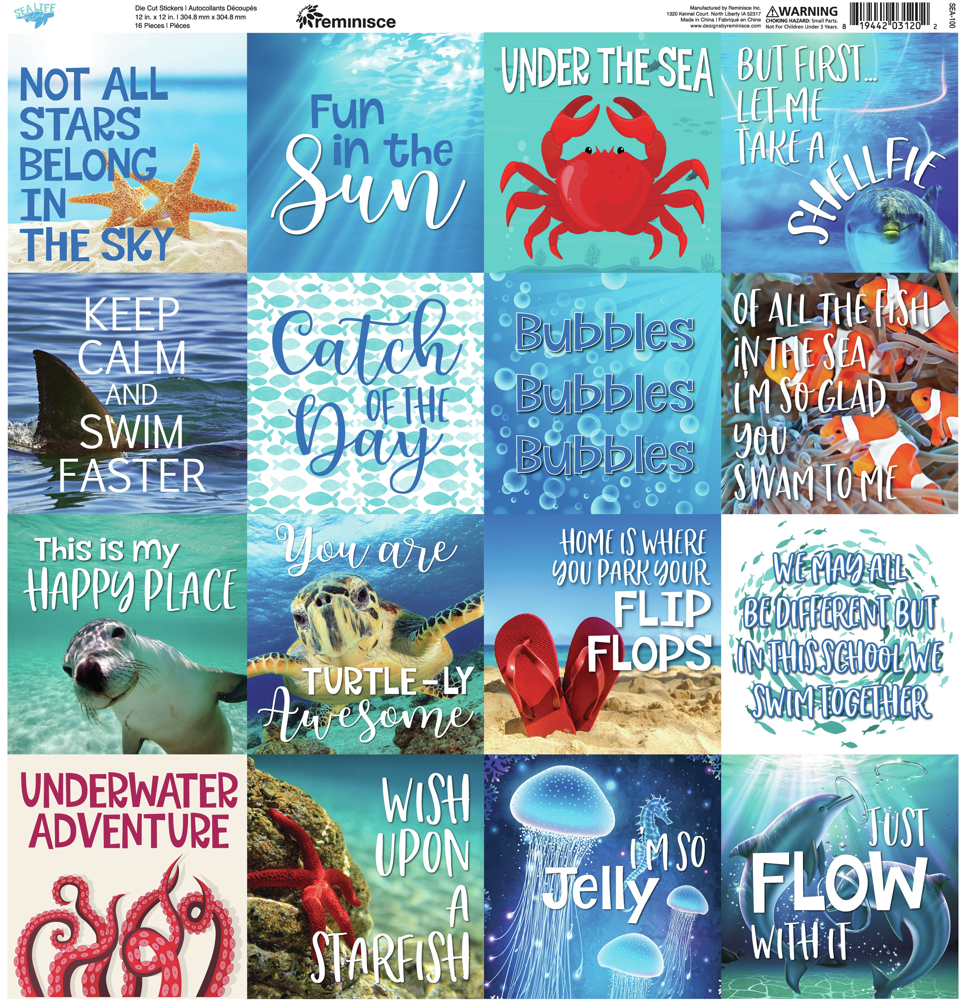 Reminisce Square Cardstock Stickers 12X12-Sea Life