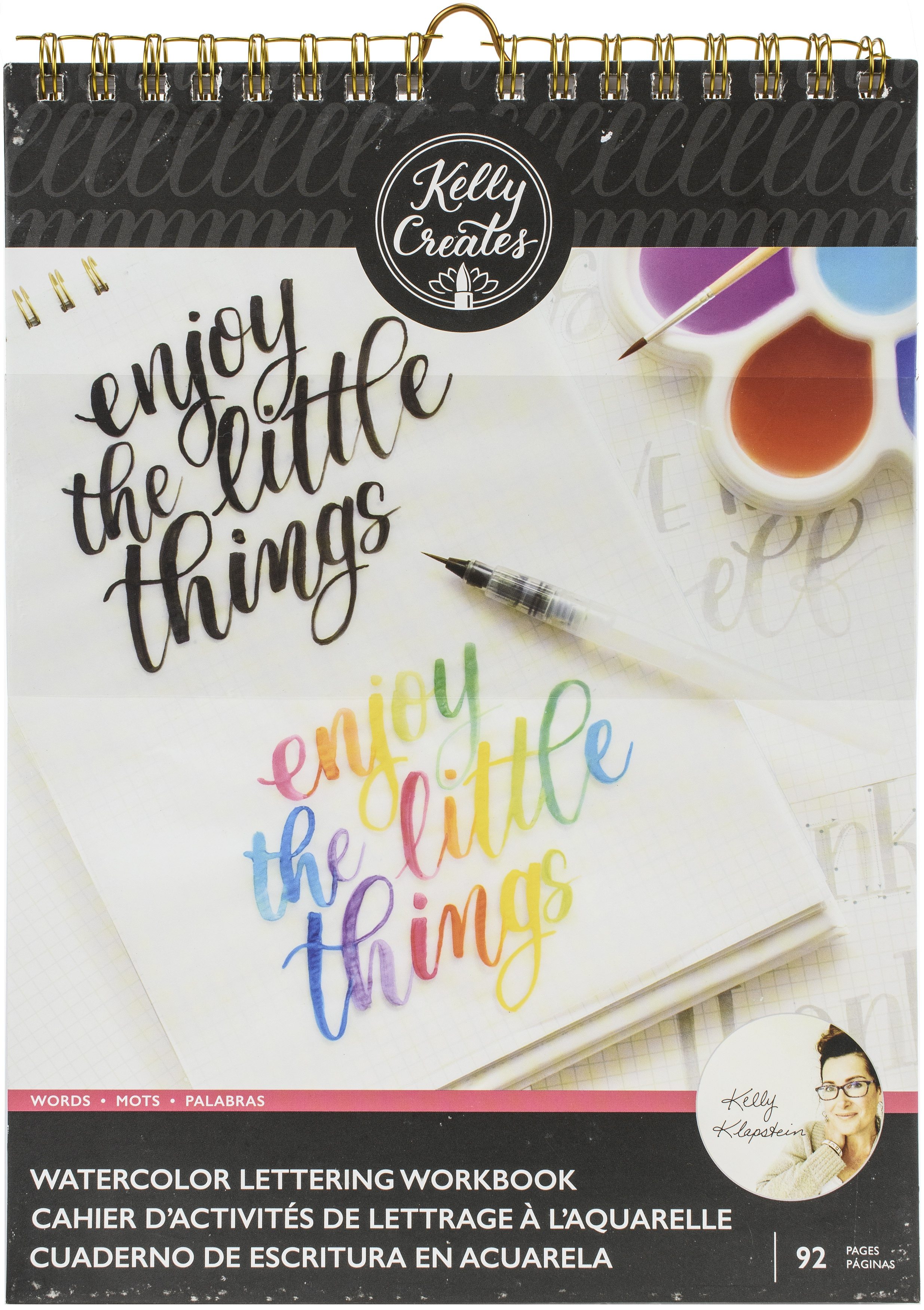 Kelly Creates Watercolor Brush Lettering Workbook 8.5X11-Words - 92 Sheets
