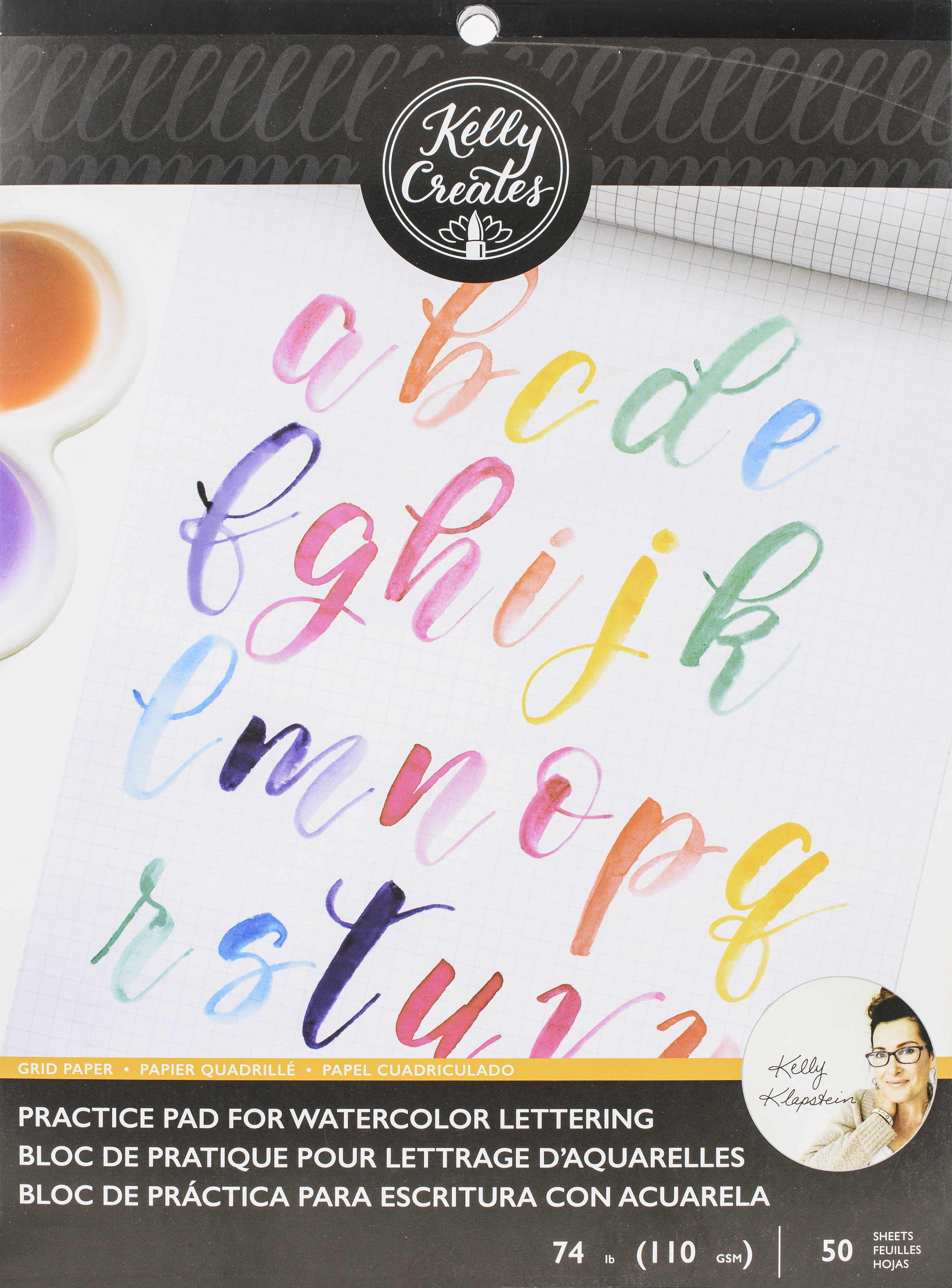 Kelly Creates Watercolor Brush Lettering Paper Pad 8.5X11-Practice Pad W/Grid ...