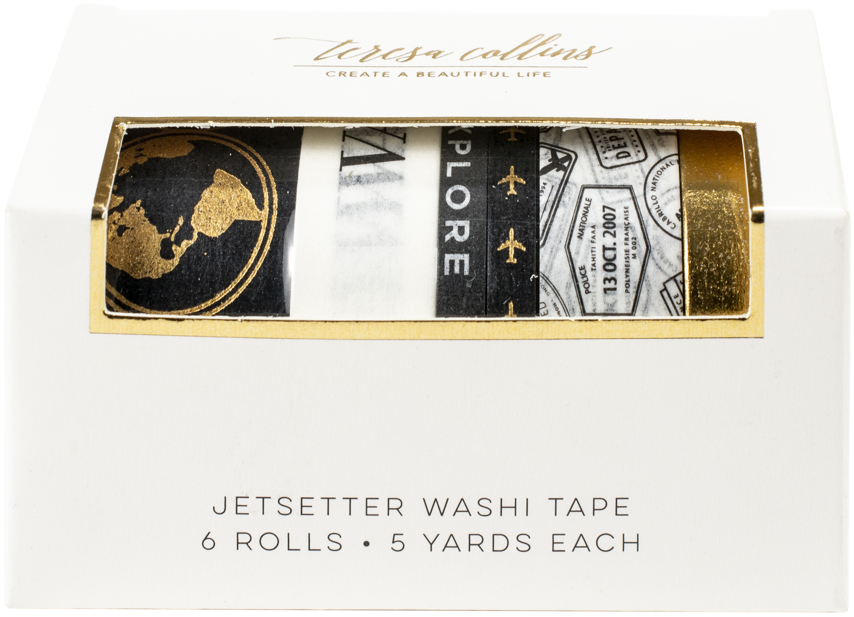 Teresa Collins Washi Tape Tube 6/Pkg-Jetsetter
