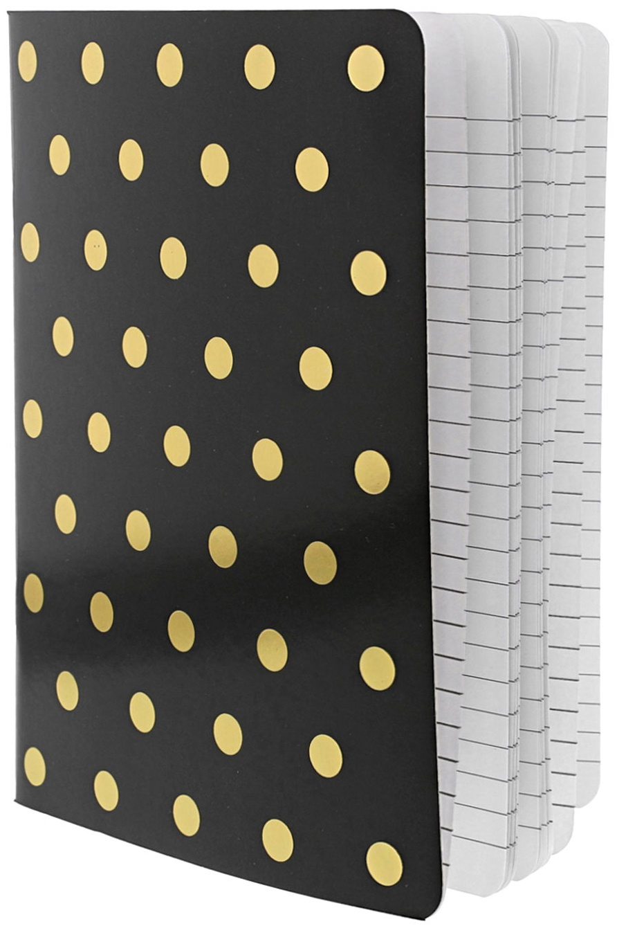 Teresa Collins Designer Notebook 6X8-Gold Polka Dot