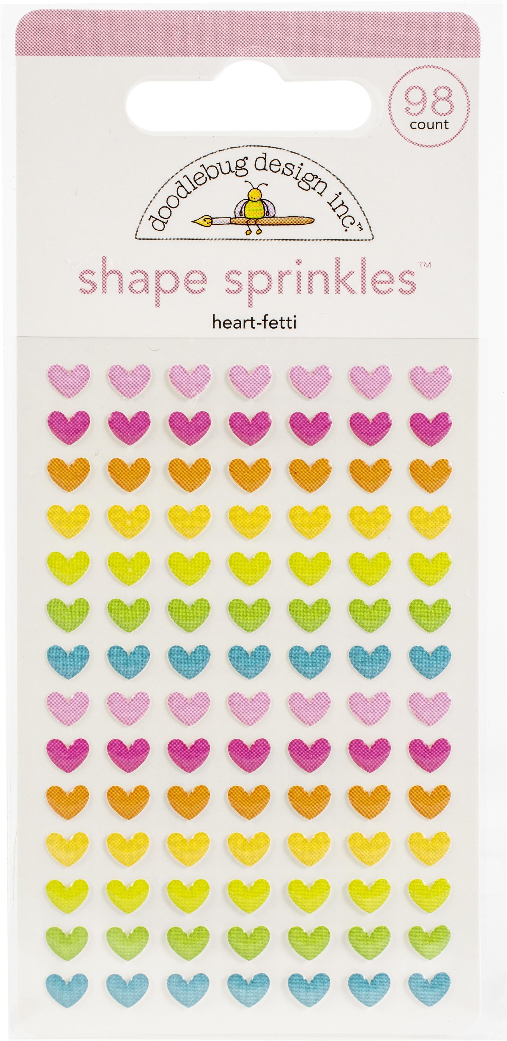 Doodlebug Sprinkles Adhesive Enamel Shapes-Heart-Fetti, Hey Cupcake