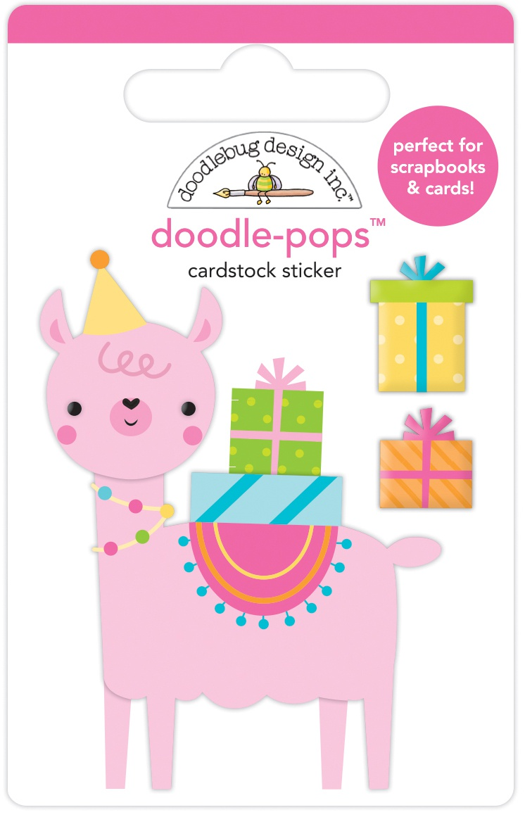 Doodlebug Doodle-Pops 3D Stickers-Party Llama, Hey Cupcake