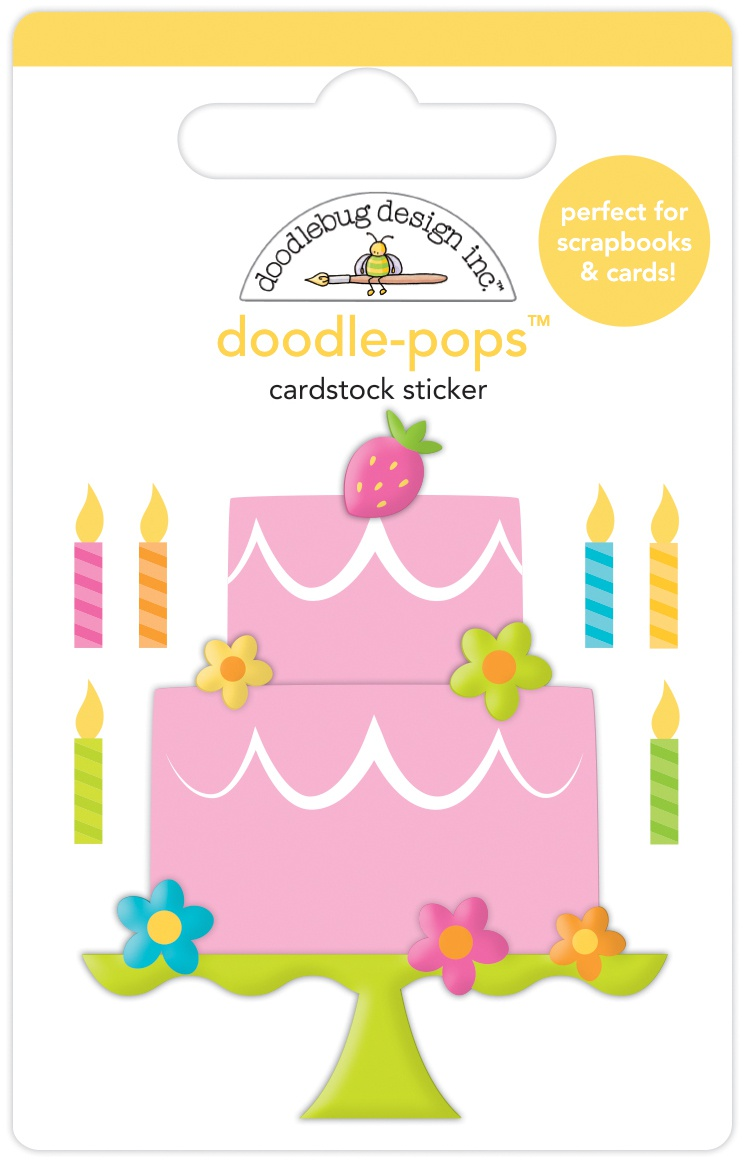 Doodlebug Doodle-Pops 3D Stickers-Make A Wish, Hey Cupcake