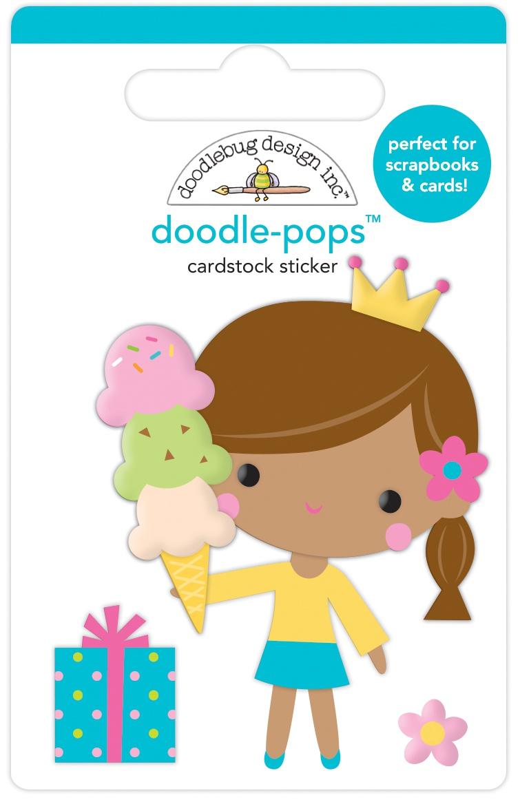 Doodlebug Doodle-Pops 3D Stickers-Birthday Princess, Hey Cupcake