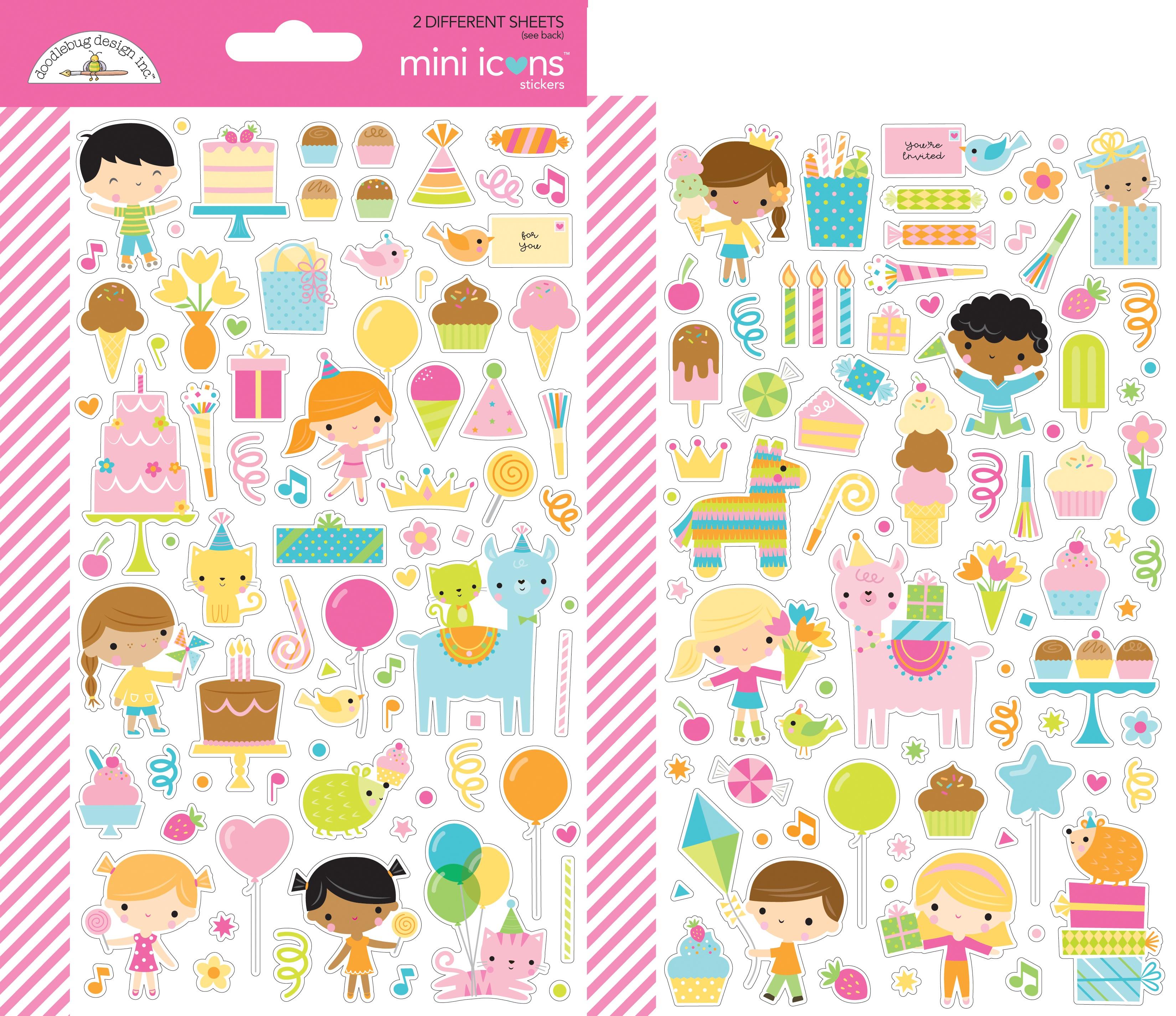 Doodlebug Mini Cardstock Stickers 2/Pkg-Hey Cupcake Icons