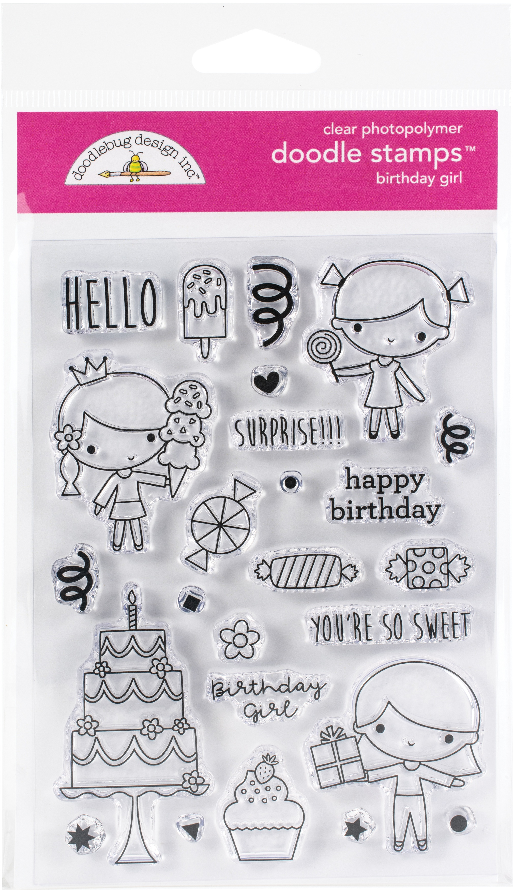 Doodlebug Clear Doodle Stamps-Birthday Girl, Hey Cupcake