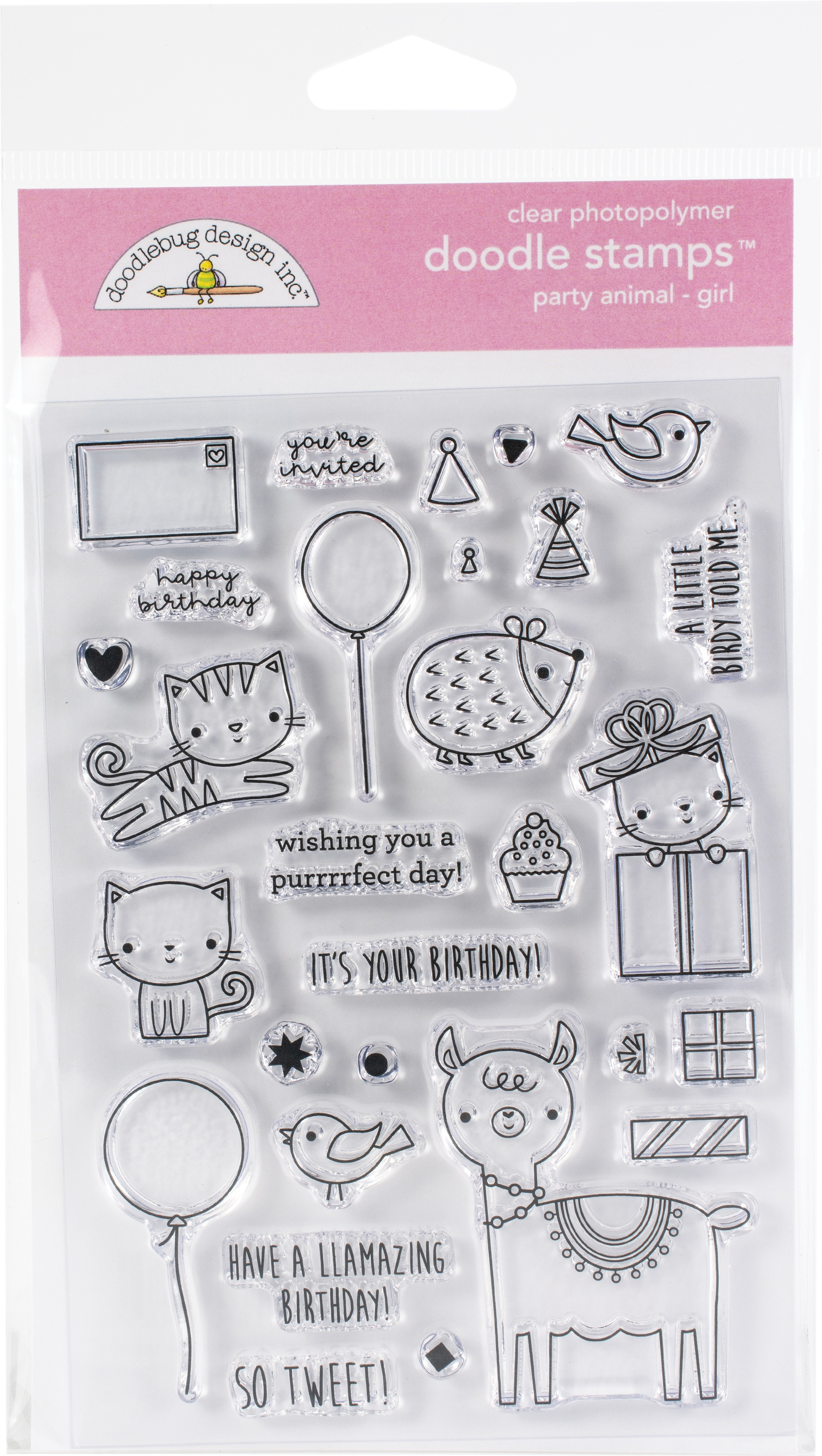 Doodlebug Clear Doodle Stamps-Party Animal-Girl, Hey Cupcake