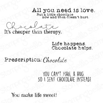Stamping Bella Cling Stamps-Chocolate Sentiment Set