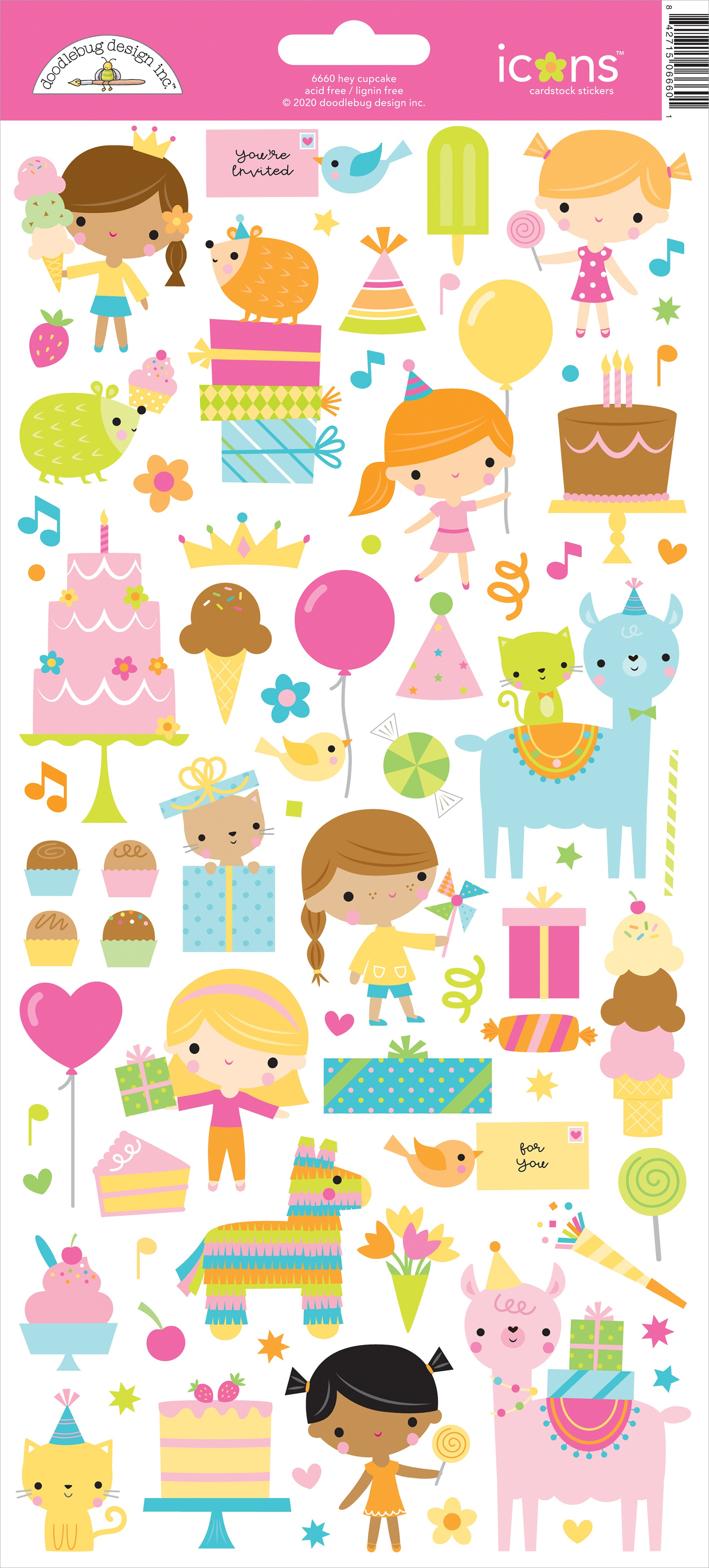 Doodlebug Cardstock Stickers 6X13-Hey Cupcake Icons