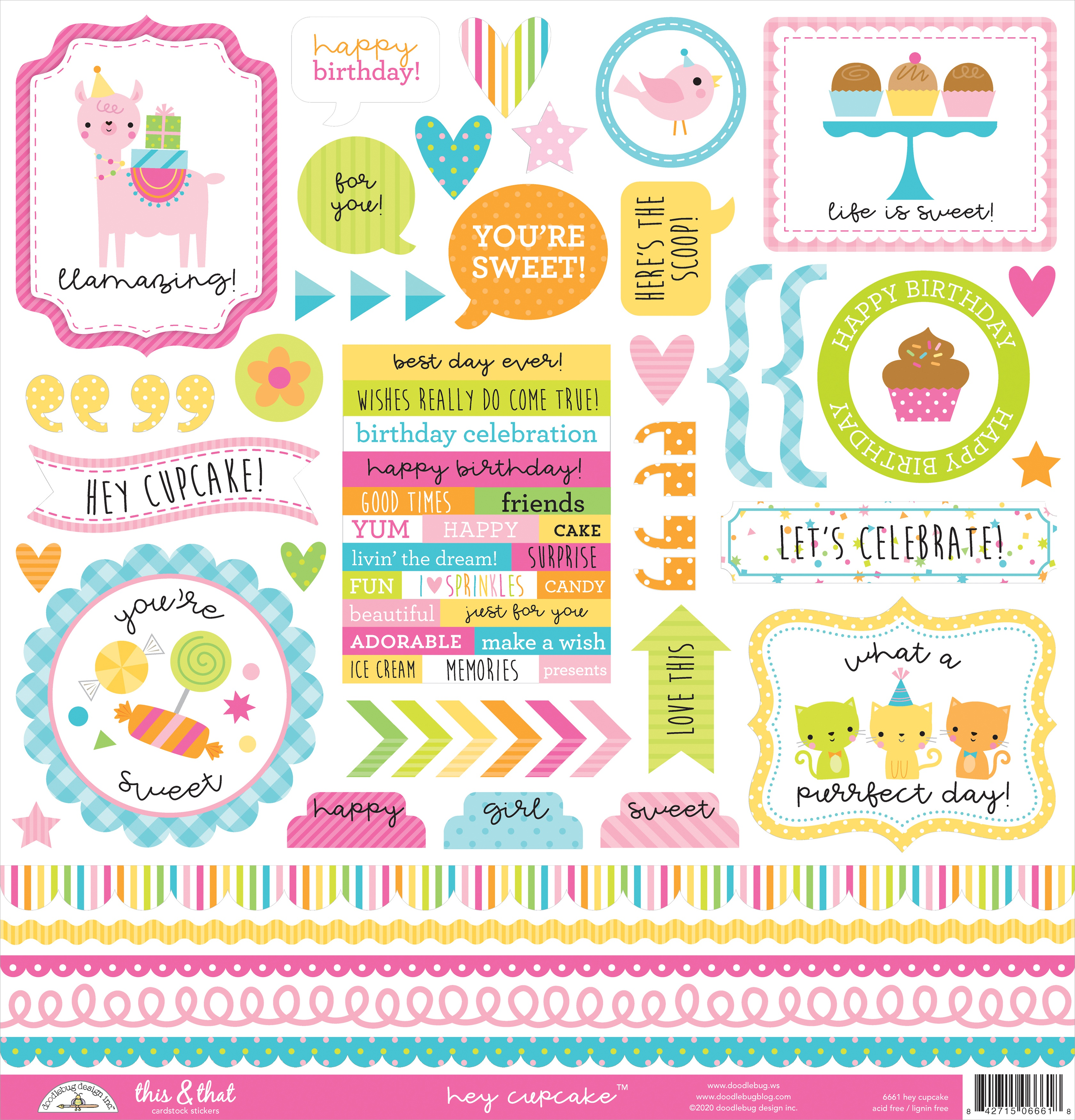Doodlebug This & That Cardstock Stickers 12X12-Hey Cupcake