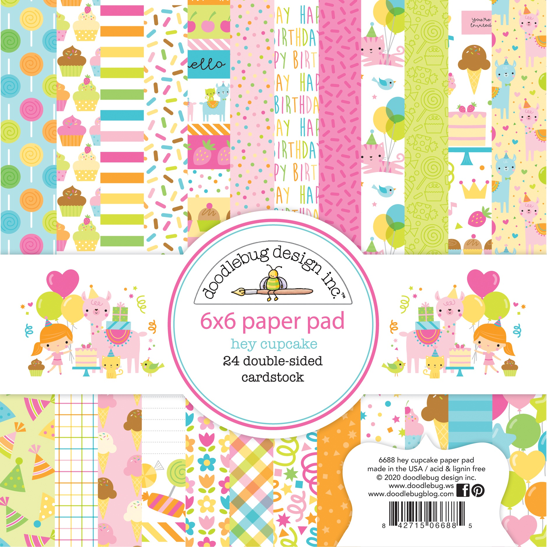 Doodlebug Double-Sided Paper Pad 6X6 24/Pkg-Hey Cupcake